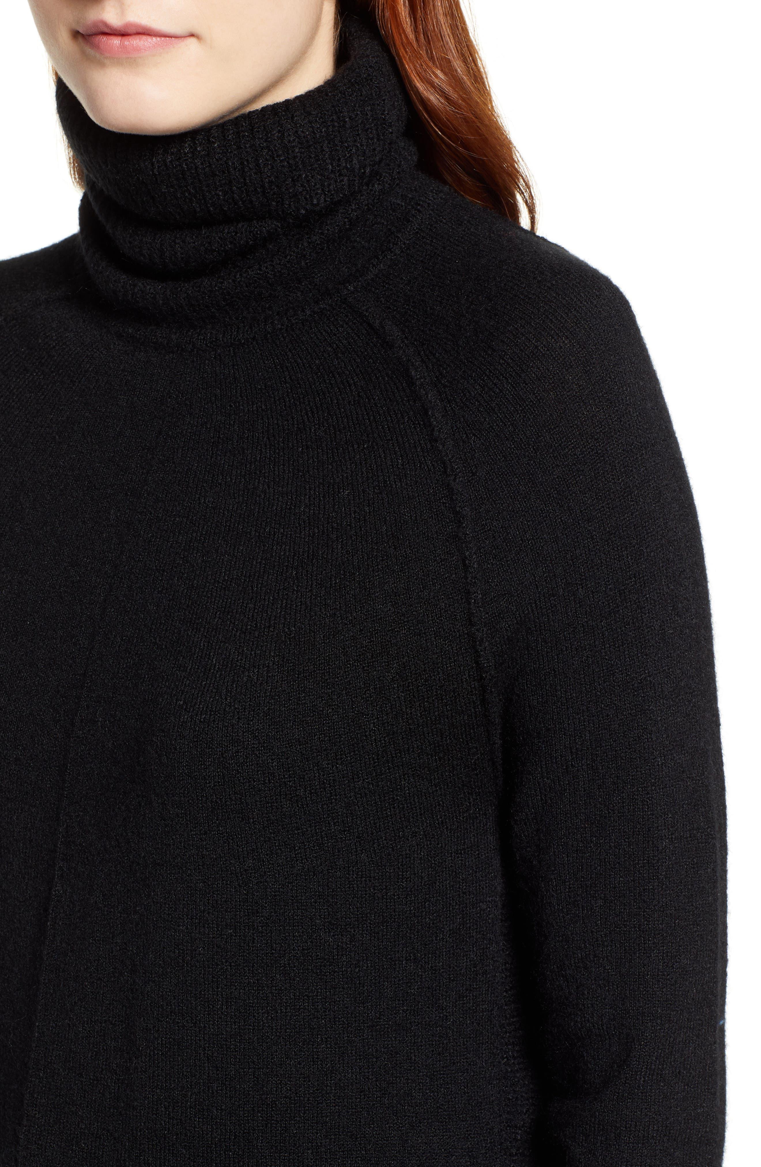 Side-Button Turtleneck Tunic Top,                             Alternate thumbnail 4, color,                             BLACK