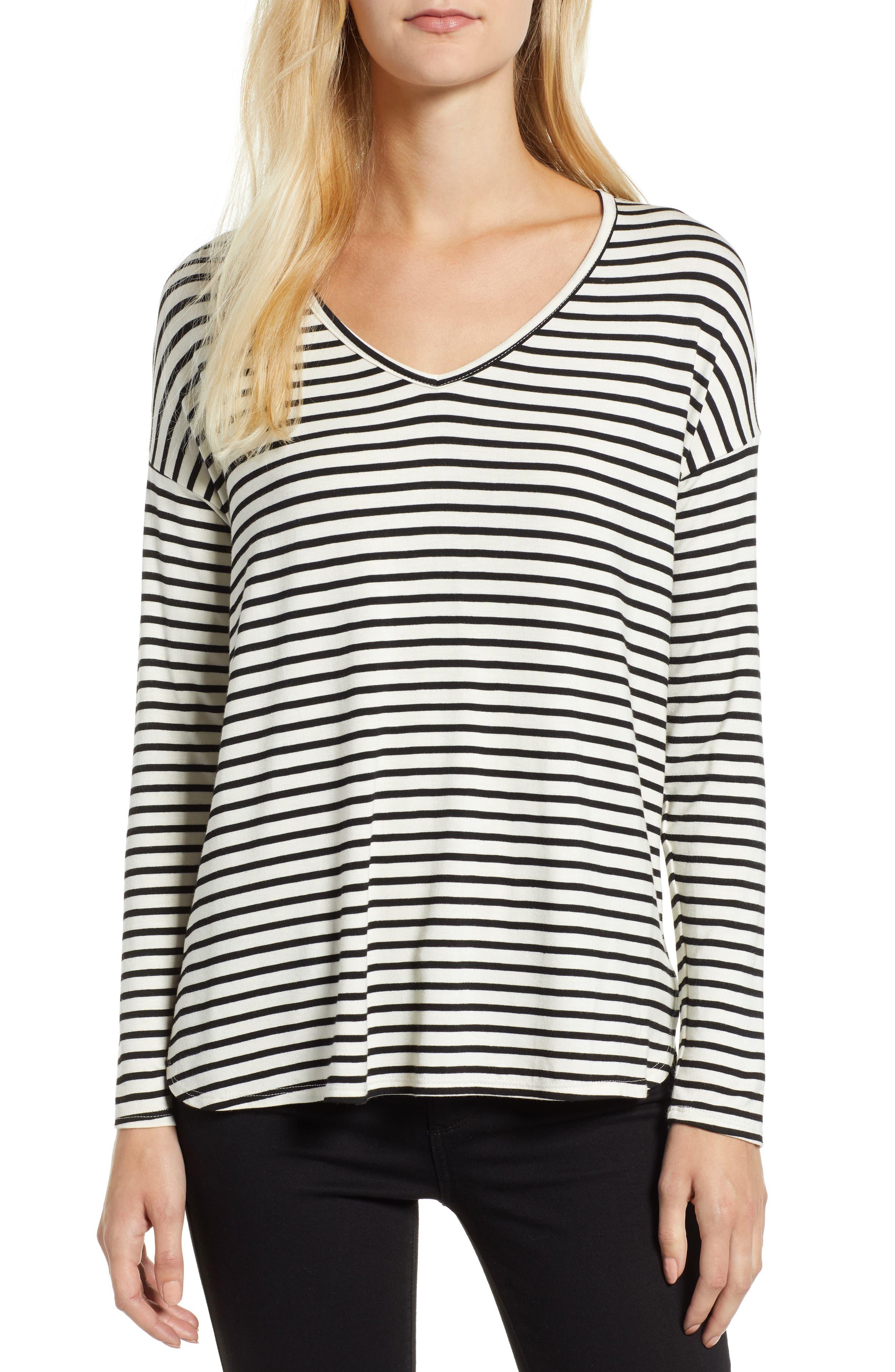 V-Neck Stripe Top,                         Main,                         color, 008