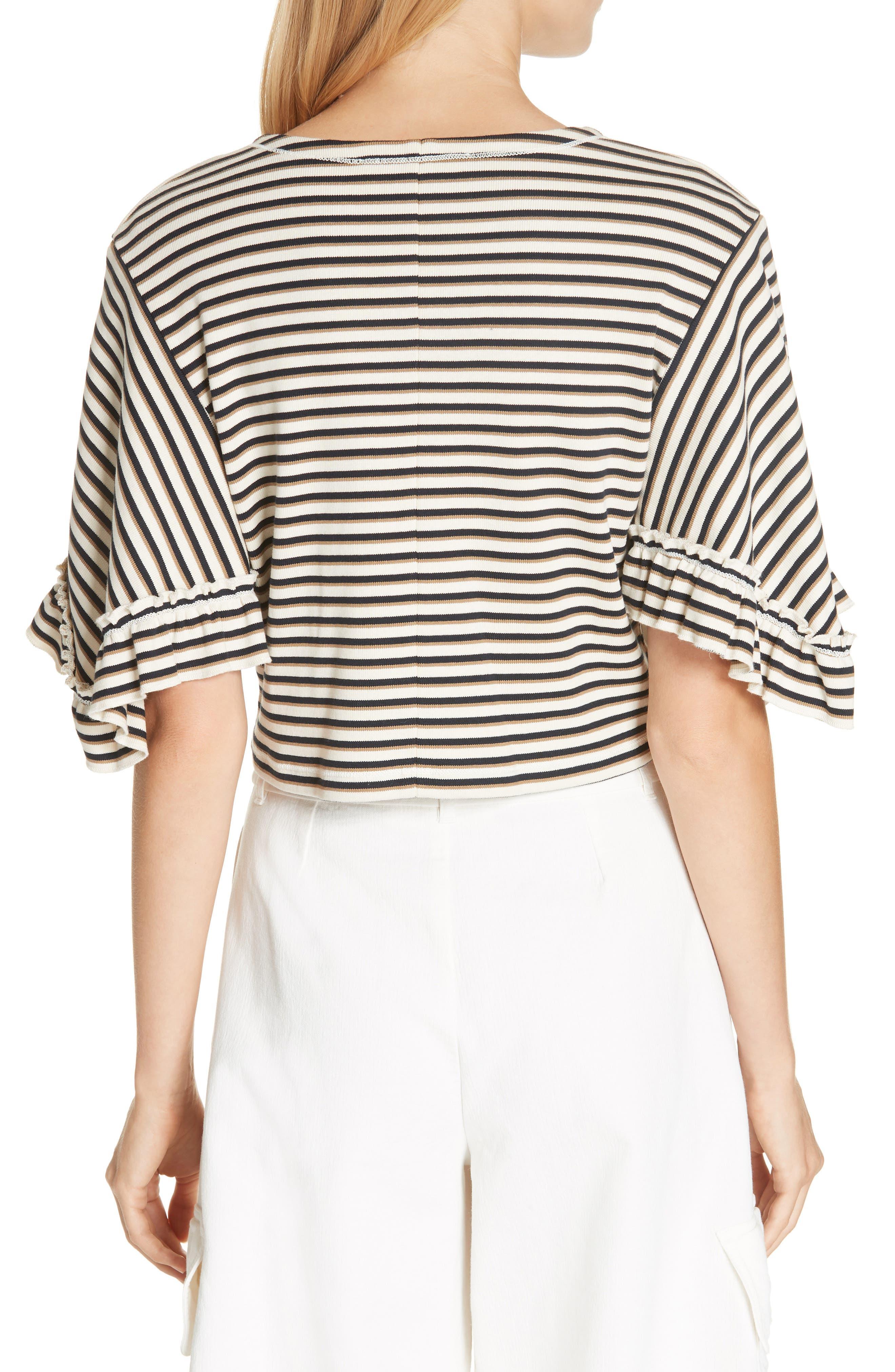 Stripe Top,                             Alternate thumbnail 2, color,                             WHITE - BEIGE 1