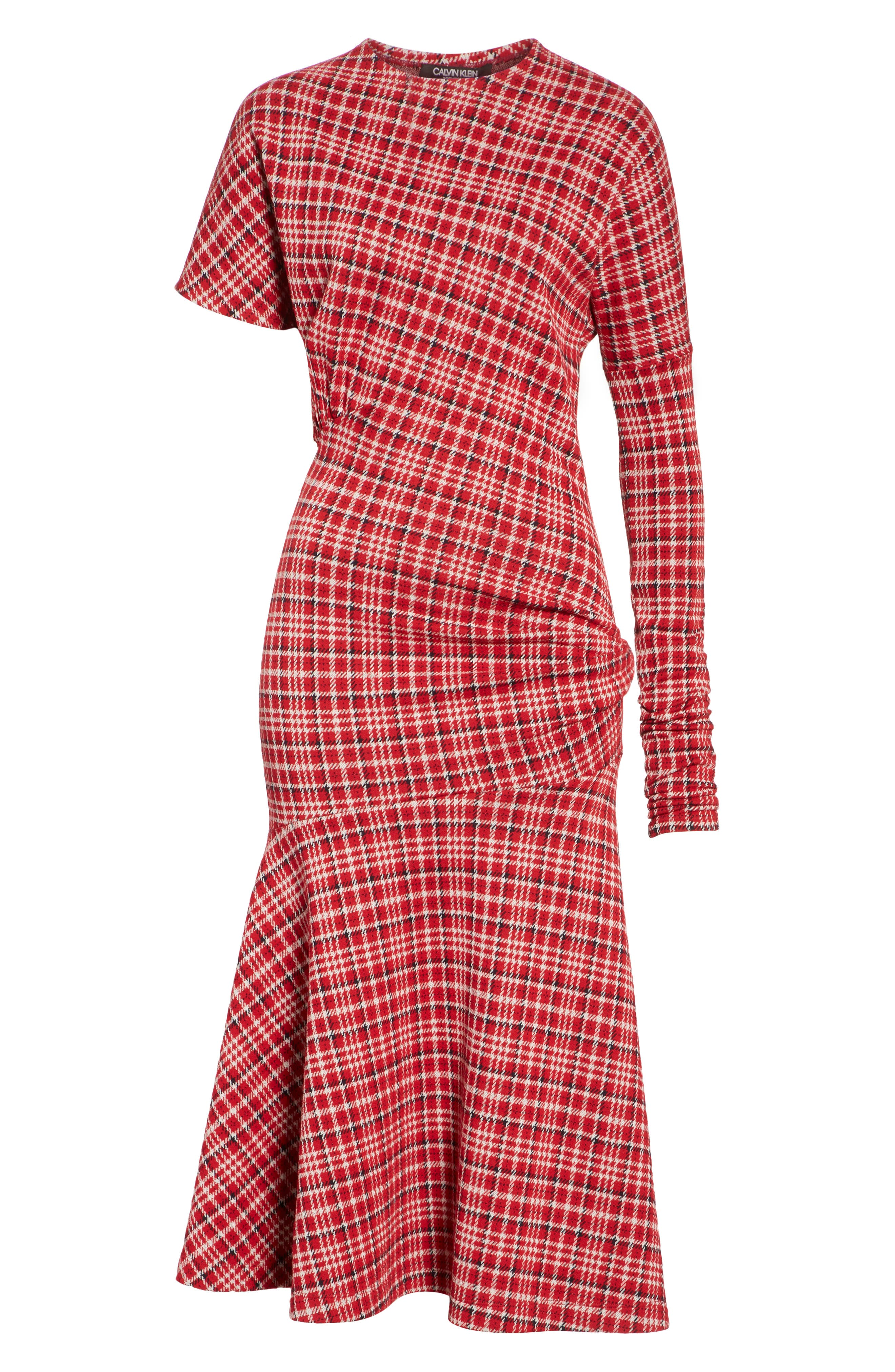 Tartan Asymmetrical Dress,                             Alternate thumbnail 6, color,                             649