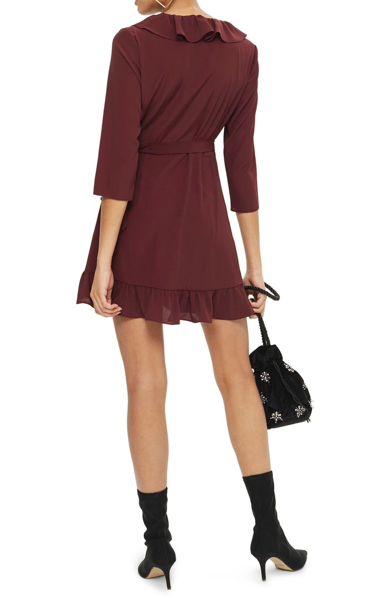Ruffle Wrap Dress,                             Alternate thumbnail 4, color,