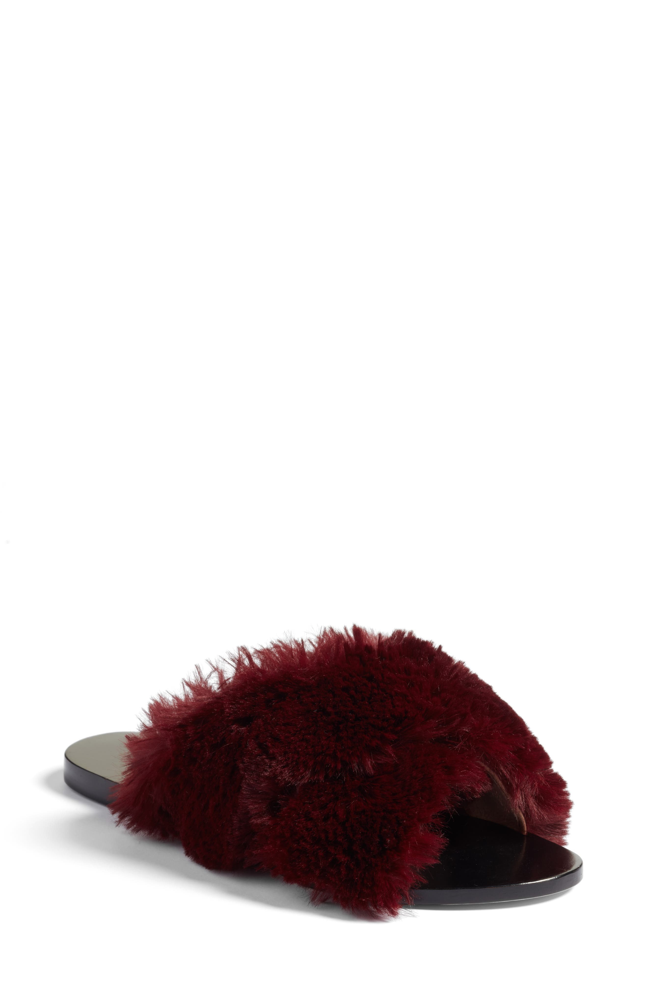 Sid Faux Fur Slide Sandal,                             Main thumbnail 1, color,                             930