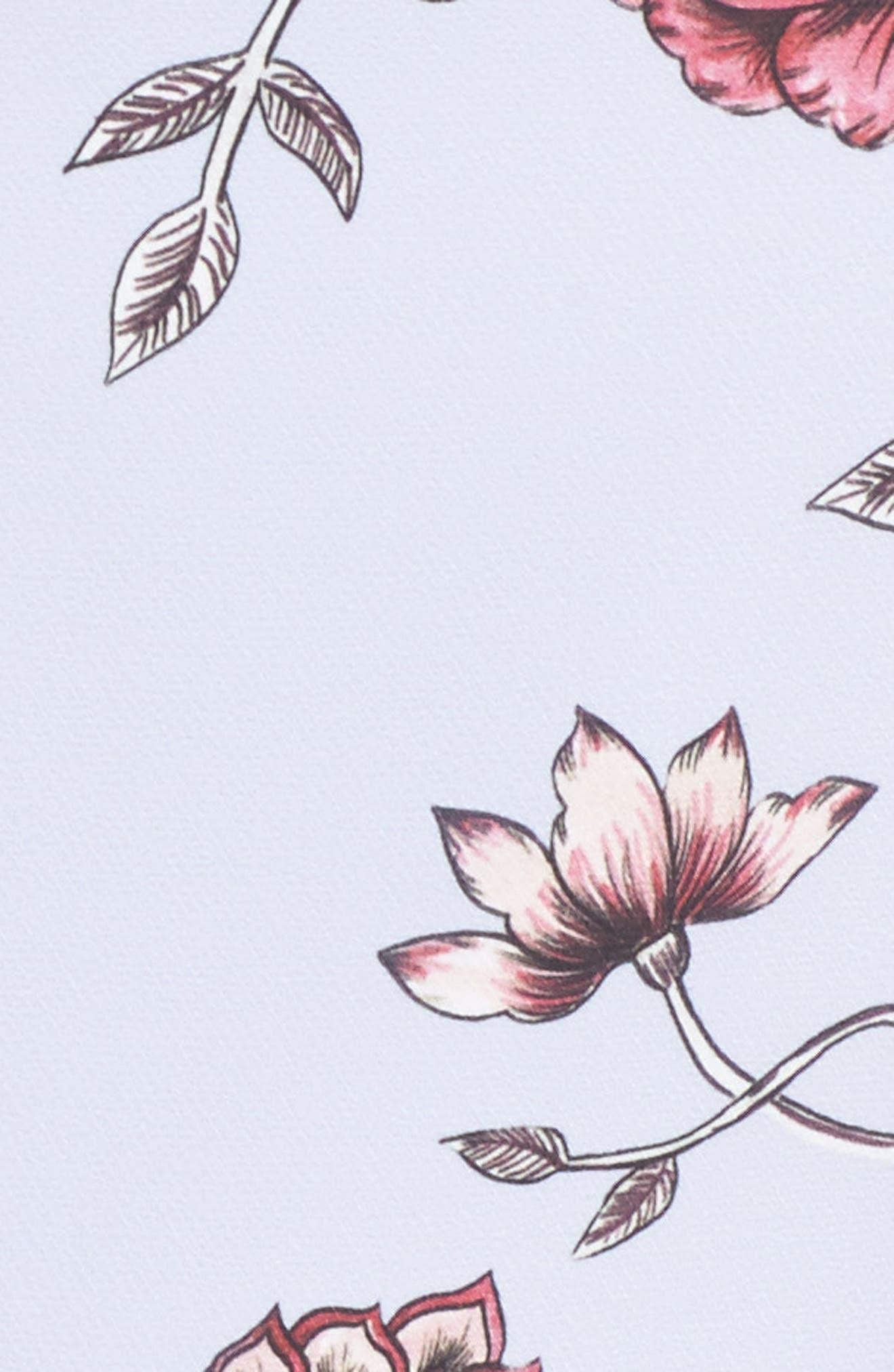 Floral High/Low Midi Dress,                             Alternate thumbnail 5, color,                             510