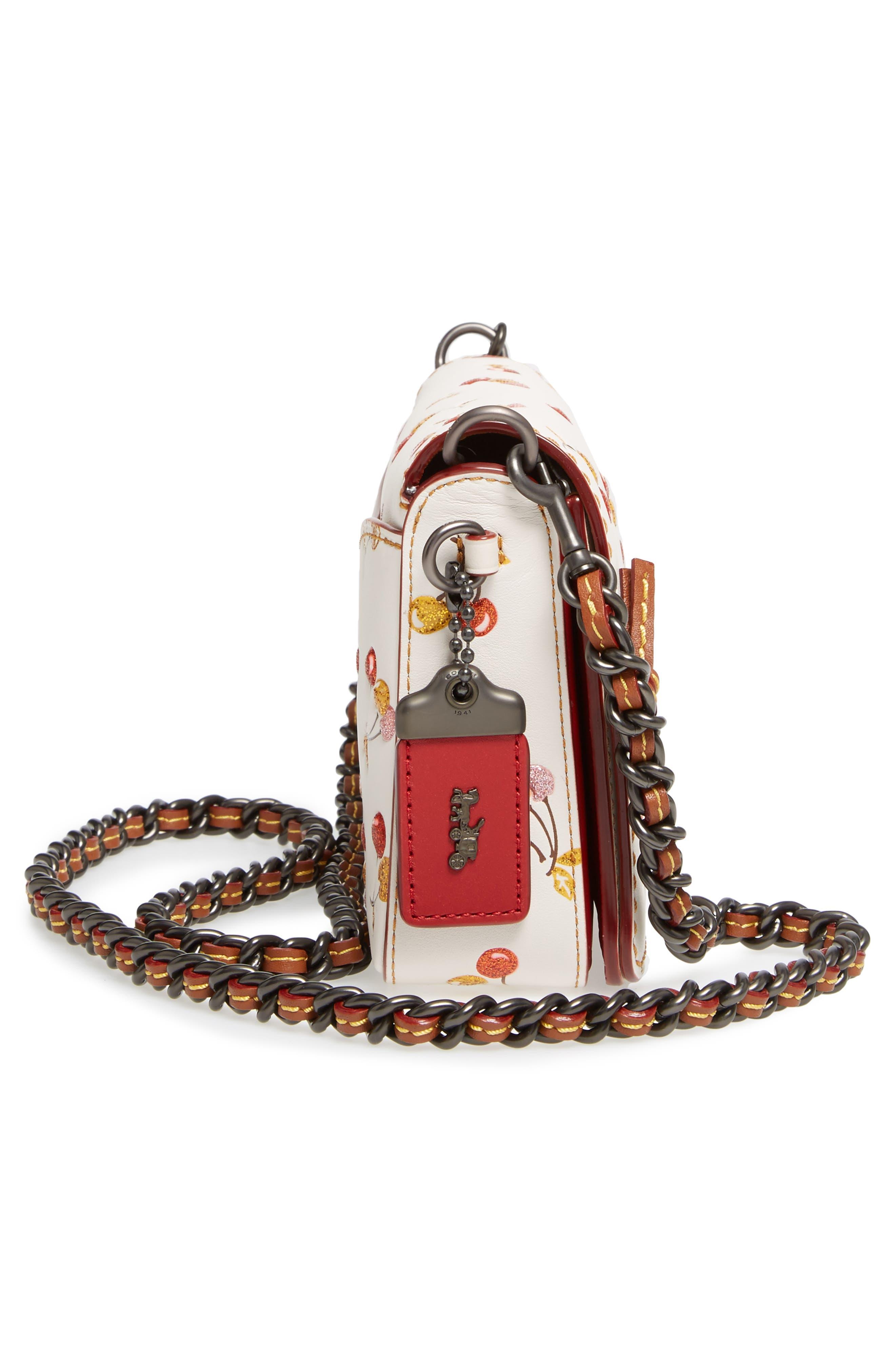 Cherries Dinky Leather Crossbody Bag,                             Alternate thumbnail 5, color,                             250