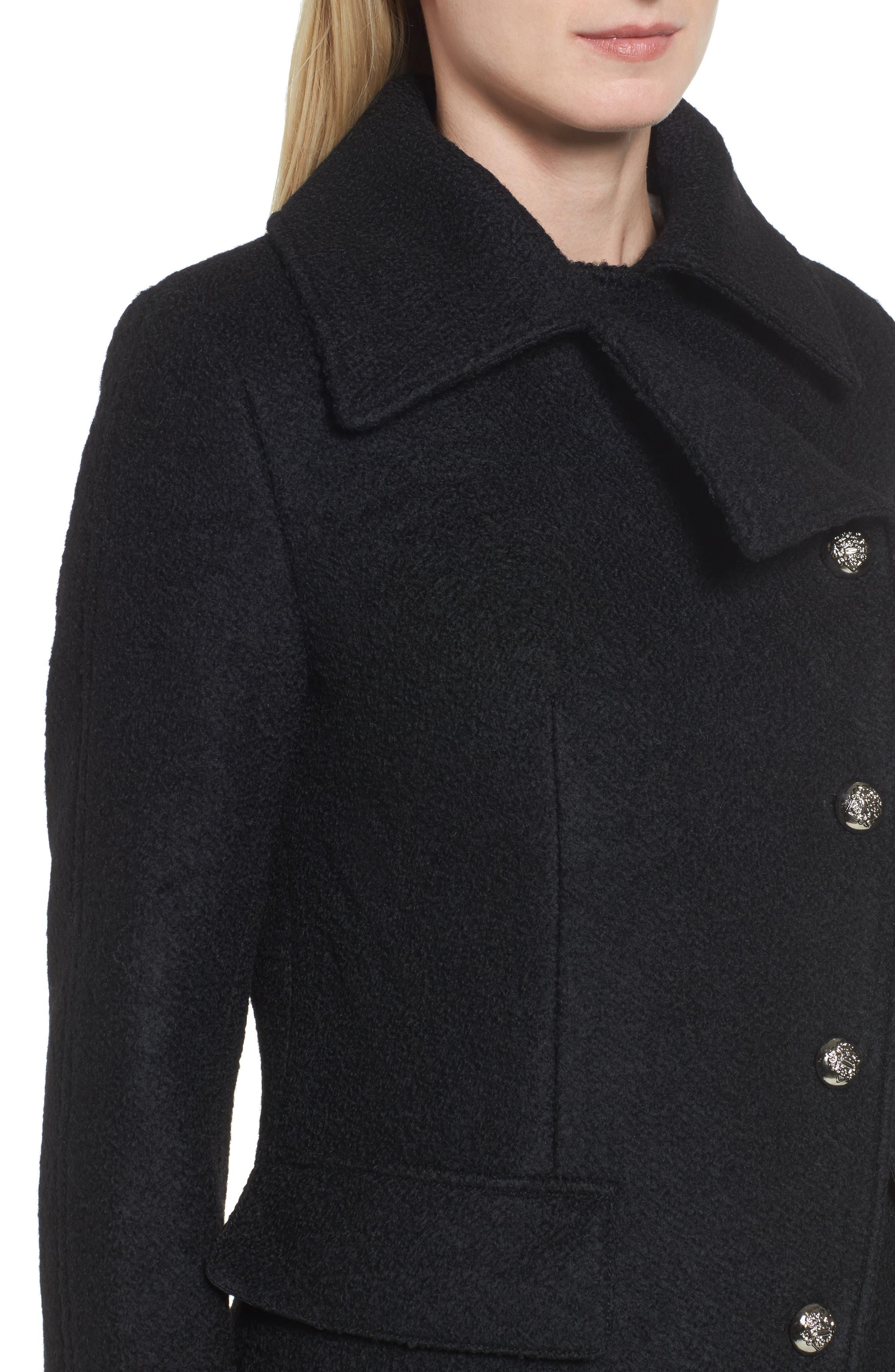 Bouclé Military Coat,                             Alternate thumbnail 4, color,                             001