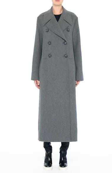Edwina Long Double Breasted Wool Blend Coat, video thumbnail