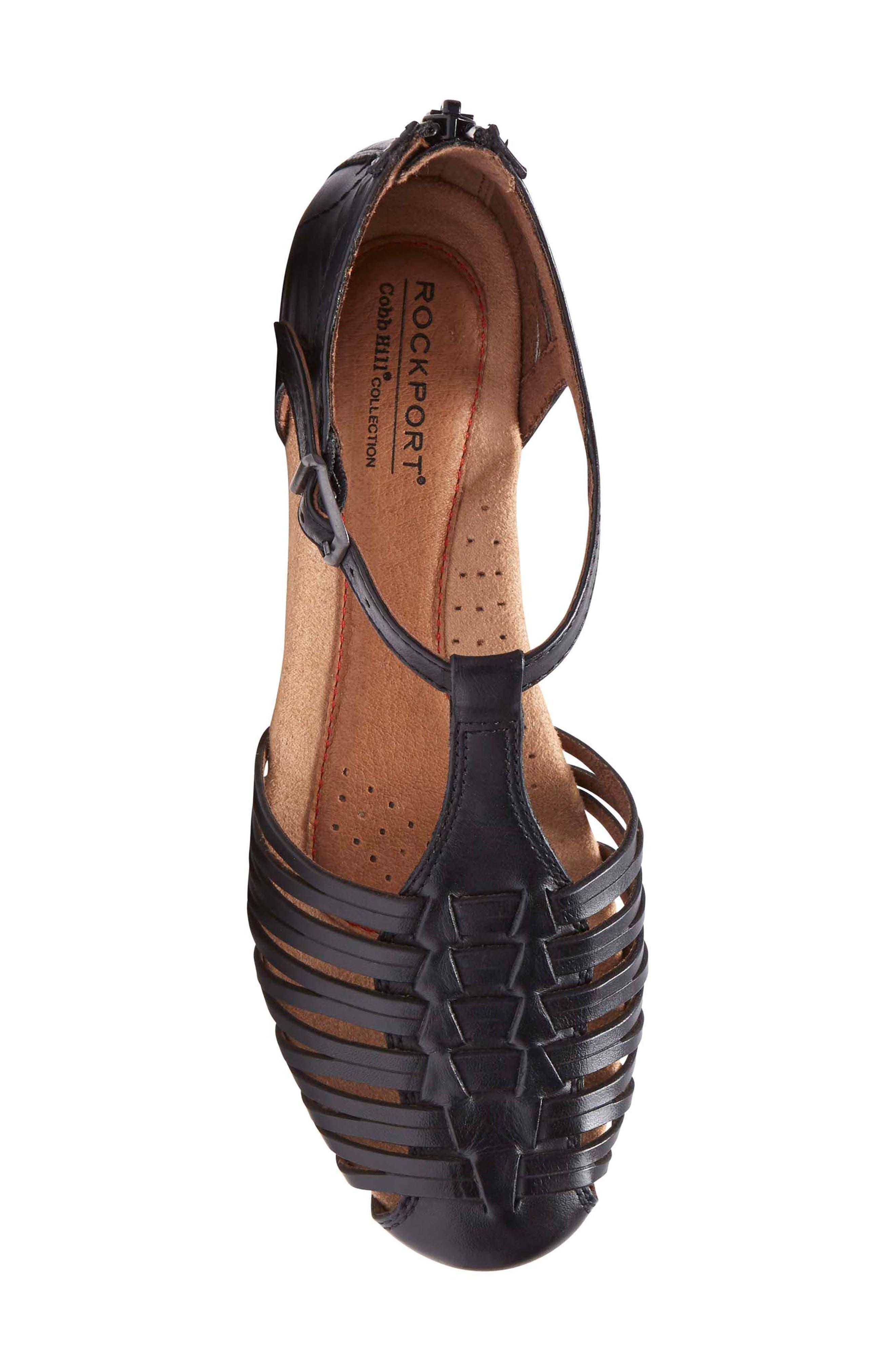 Inglewood Huarache Sandal,                             Alternate thumbnail 5, color,                             BLACK LEATHER