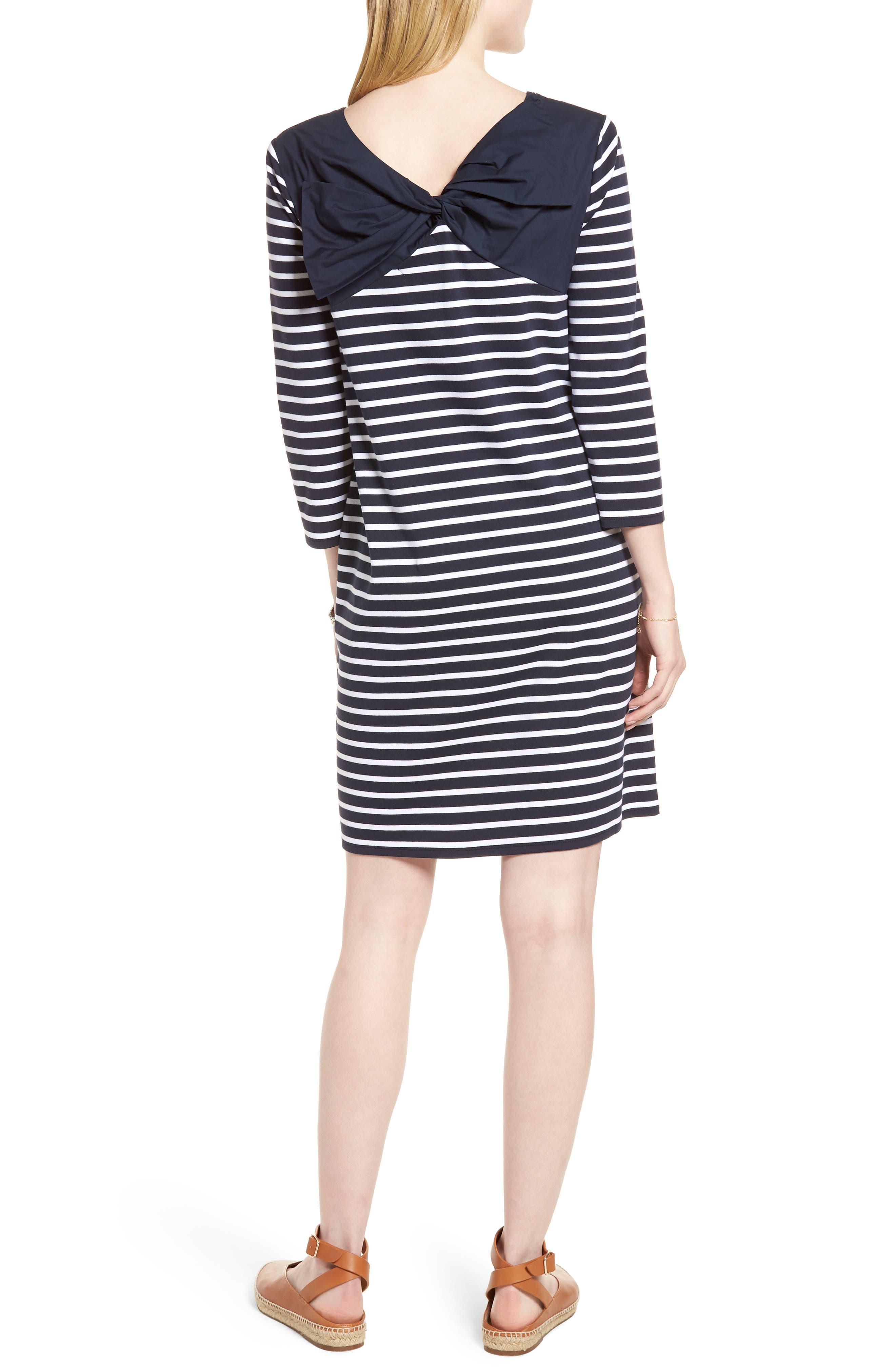 Bow Back Stripe Knit Dress,                             Alternate thumbnail 2, color,                             410