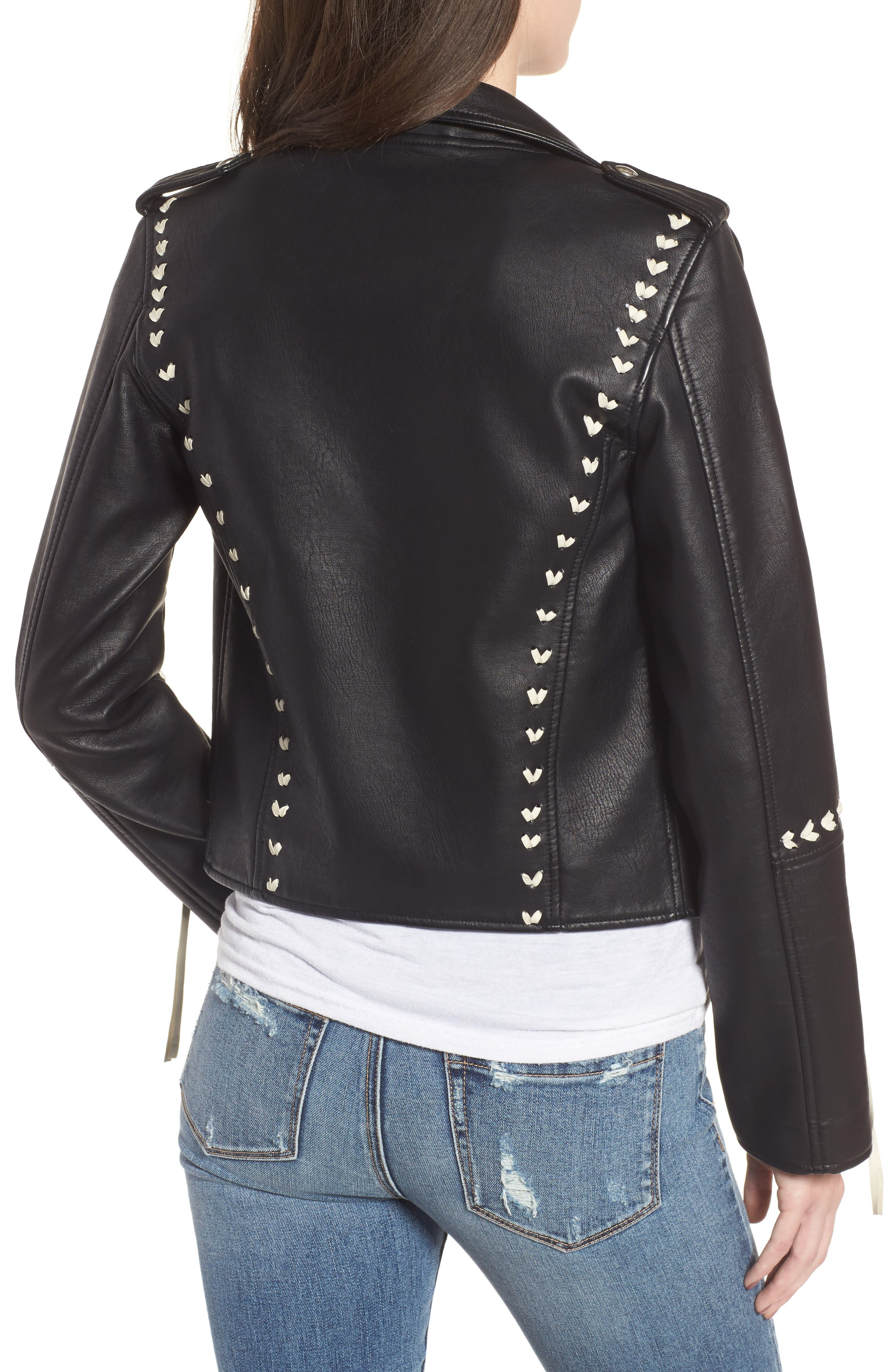 Whipstitched Faux Leather Moto Jacket,                             Alternate thumbnail 2, color,                             001
