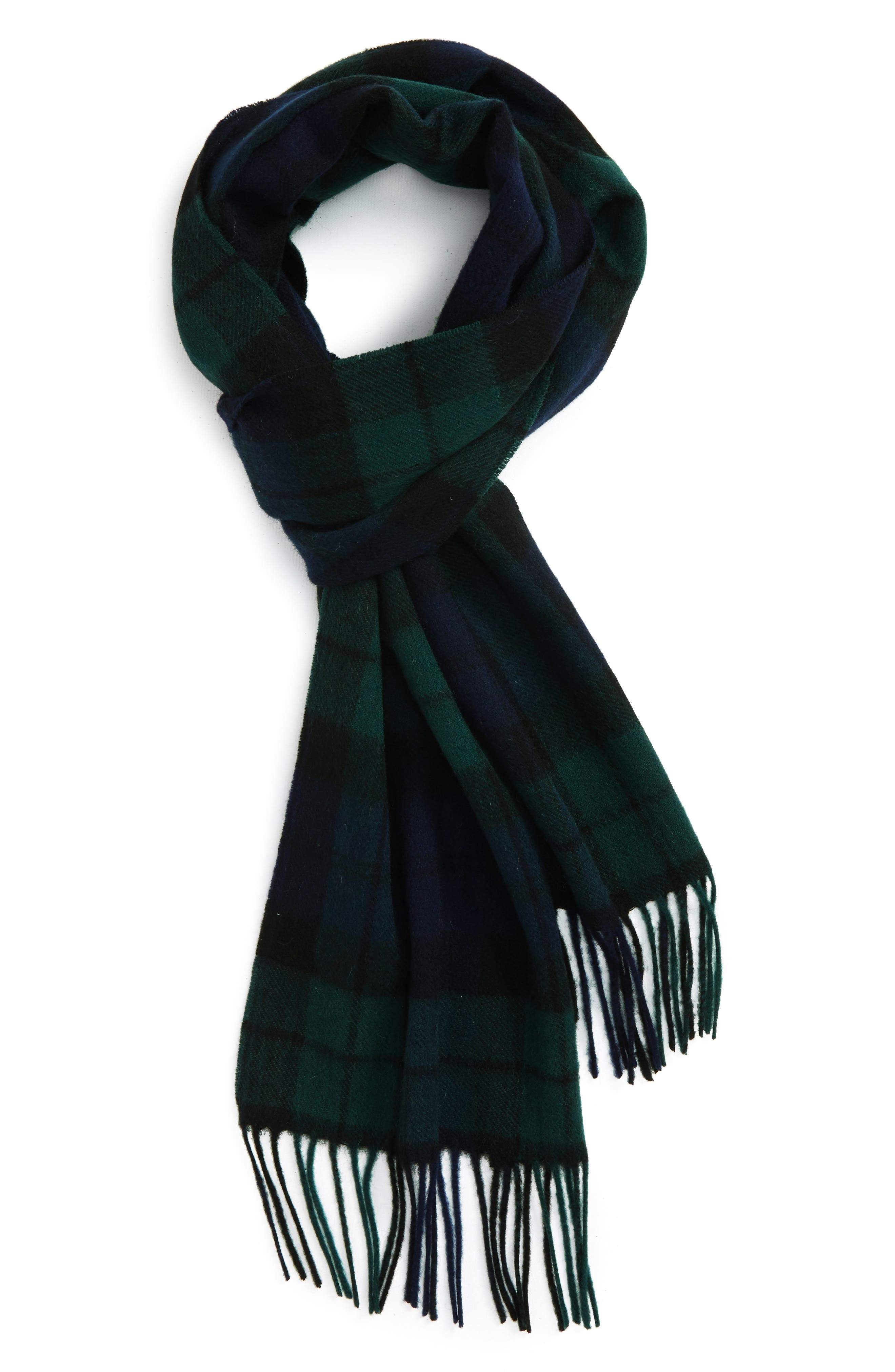 New Check Lambswool & Cashmere Scarf,                             Alternate thumbnail 2, color,                             BLACK WATCH