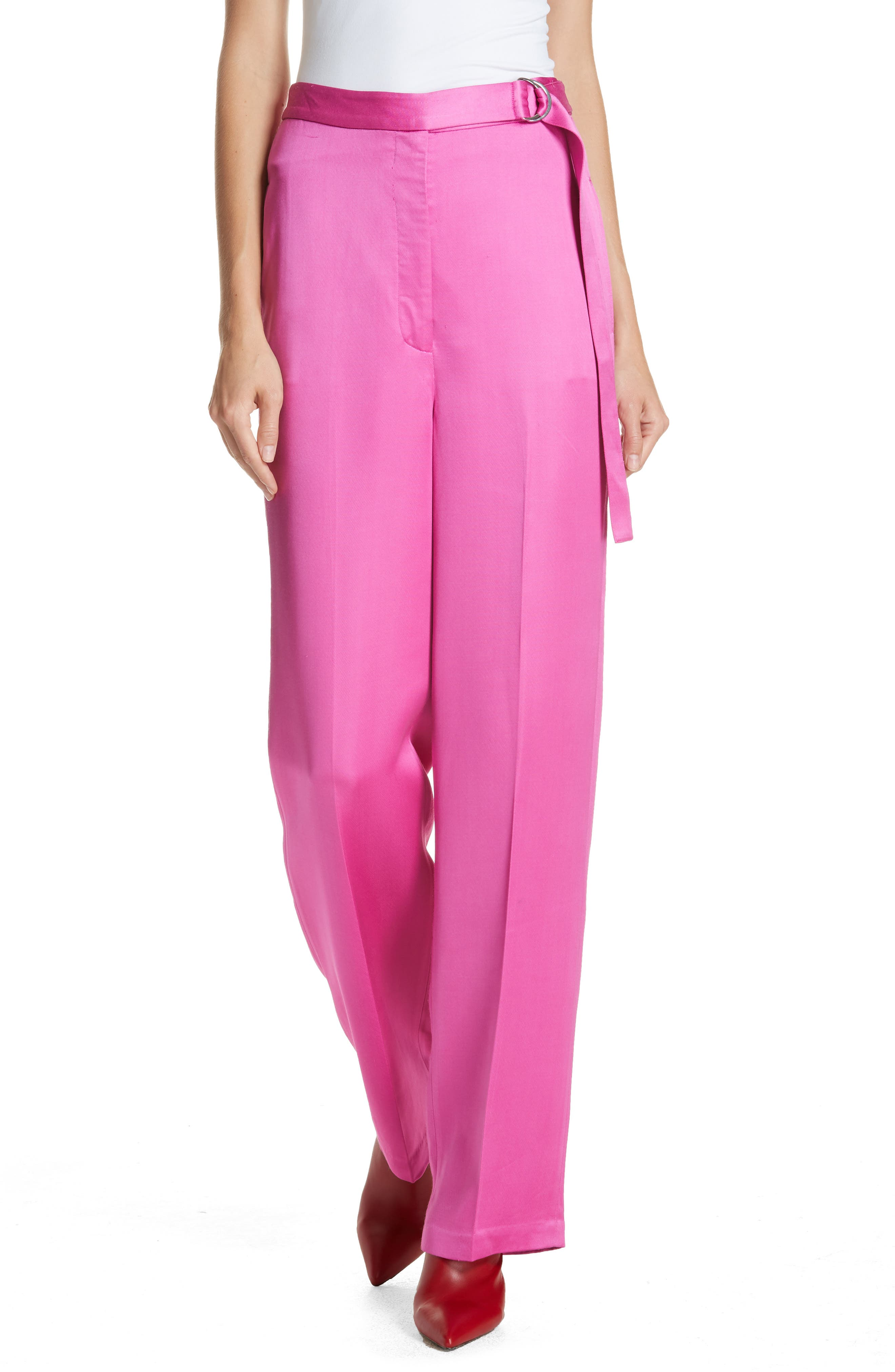 High Waist Satin Twill Pants,                         Main,                         color, HOT PINK