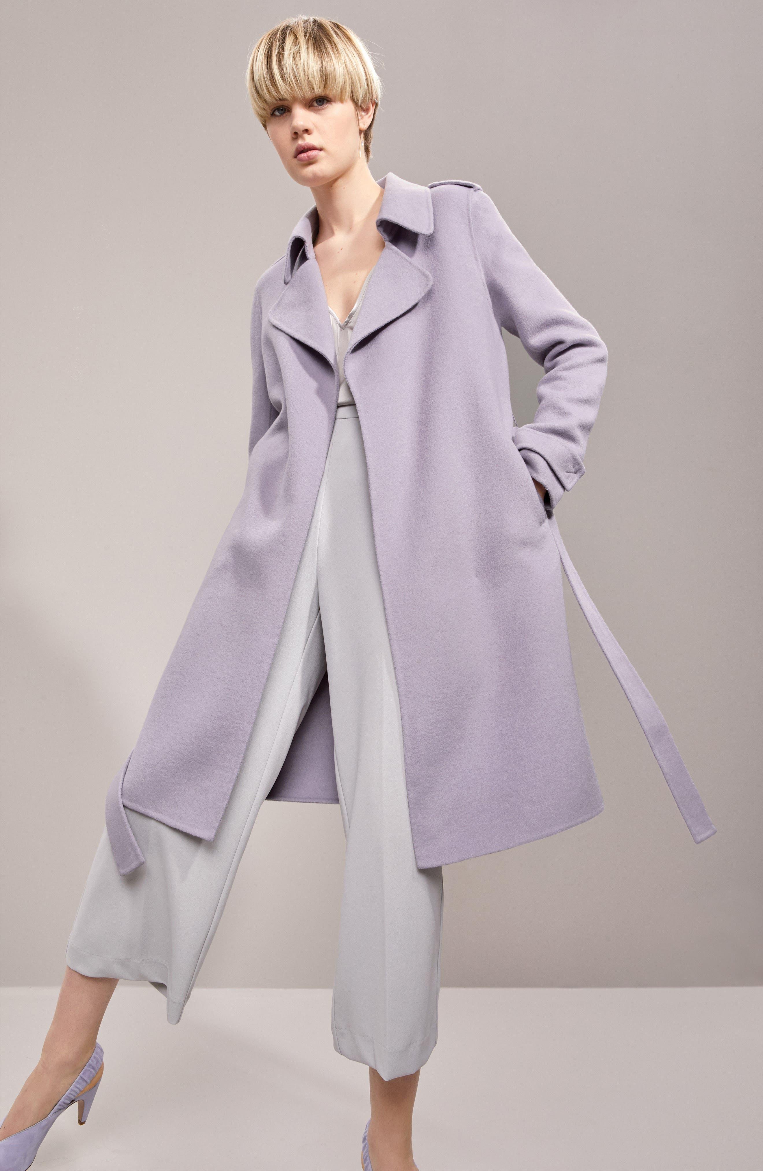 Double Face Wool Blend Wrap Front Coat,                             Alternate thumbnail 8, color,                             LAVENDER