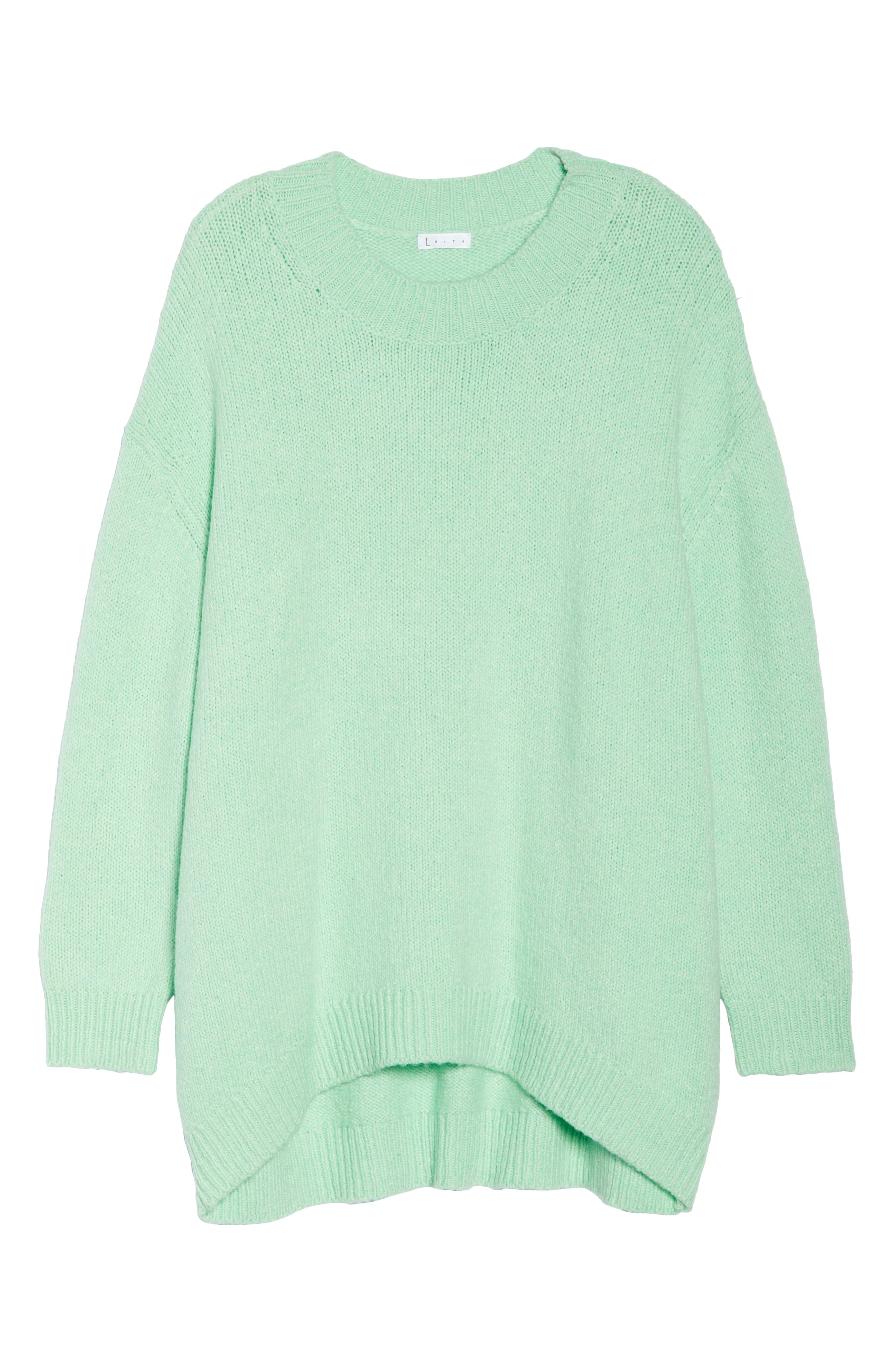 High-Low Sweater,                             Alternate thumbnail 10, color,                             GREEN ASH