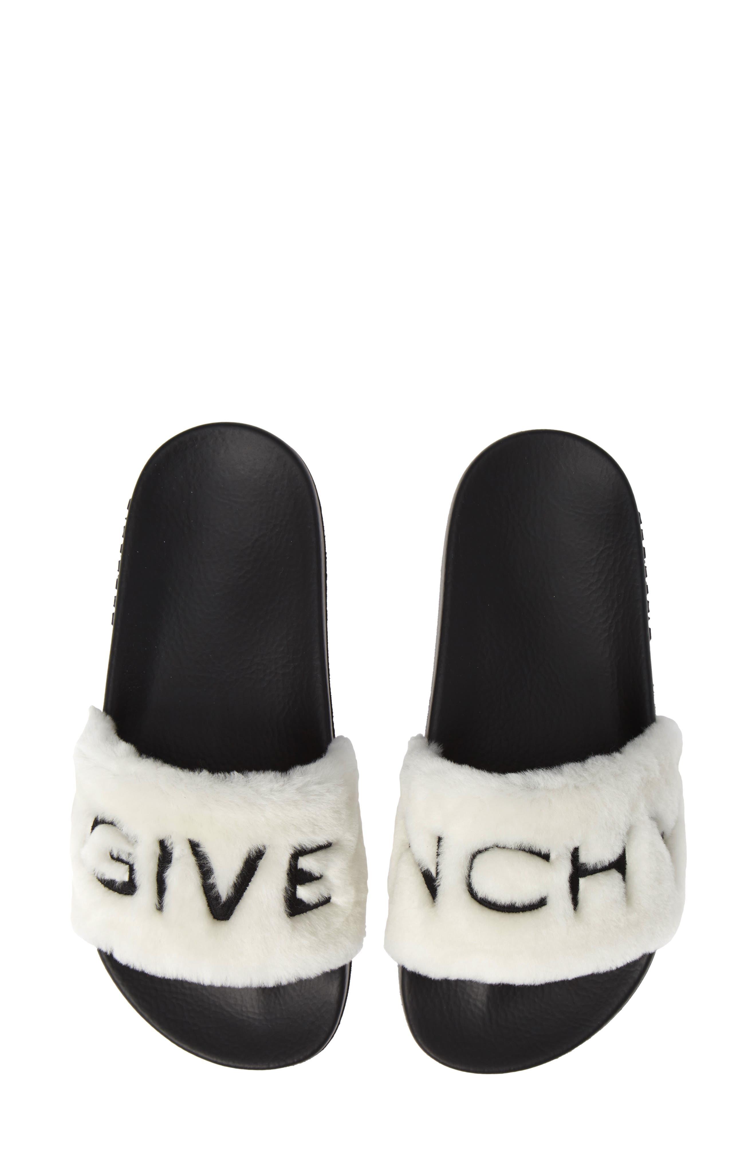 Logo Genuine Shearling Slide Sandal,                         Main,                         color, WHITE/ BLACK