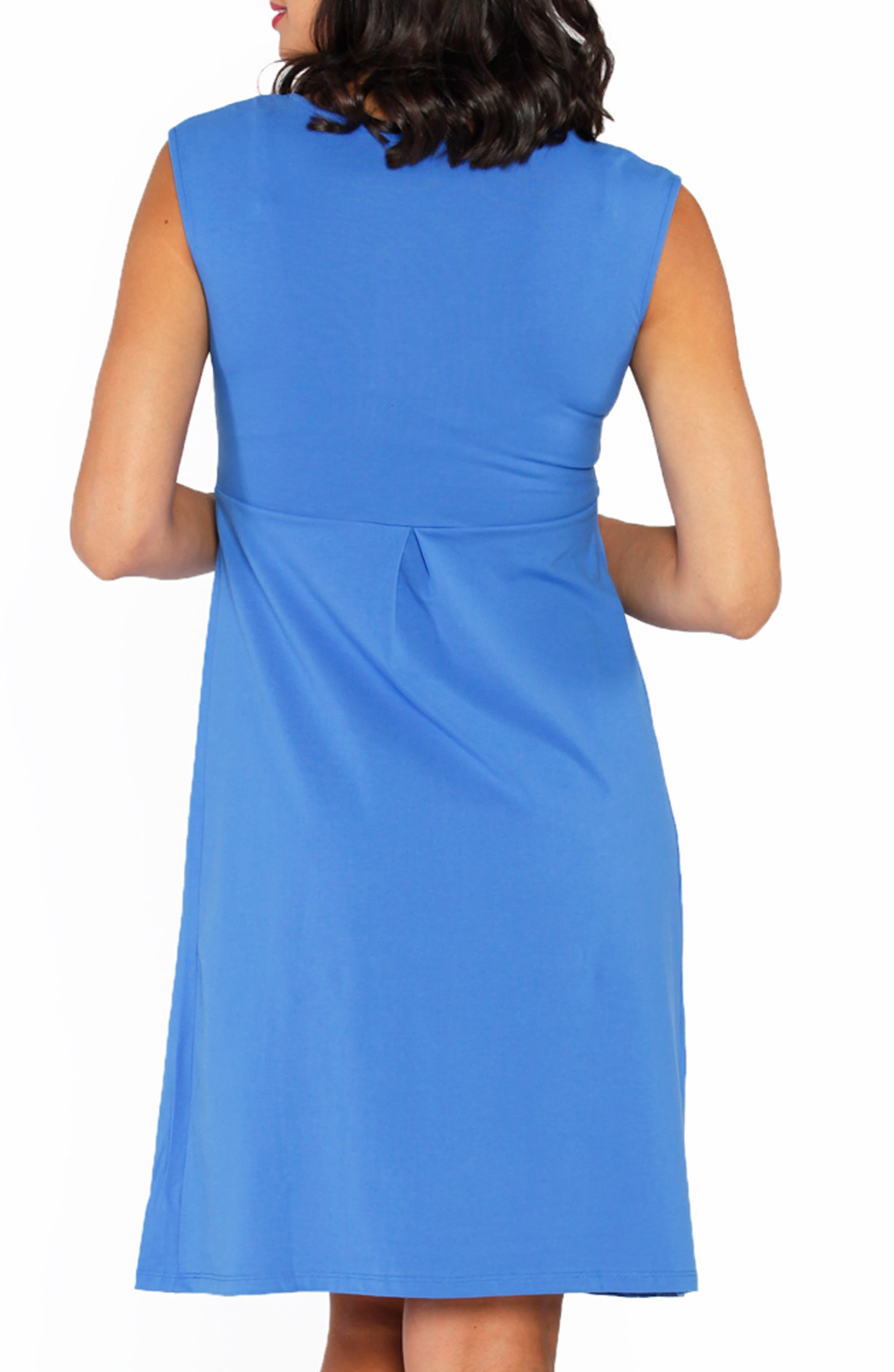 Stretch Cotton Maternity Dress,                             Alternate thumbnail 2, color,                             BLUE