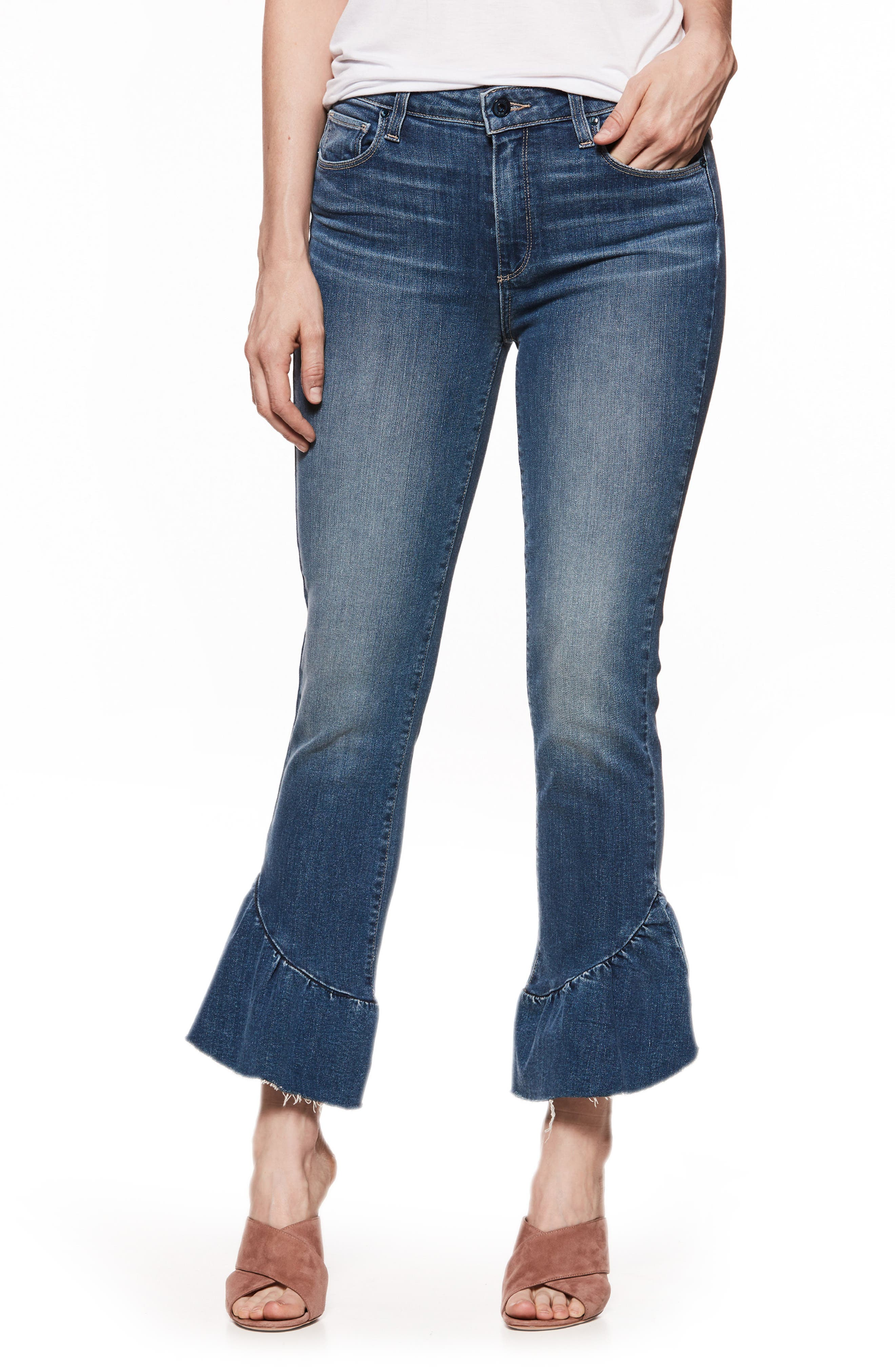 Floral Ruffle Hem Straight Leg Jeans,                             Main thumbnail 1, color,                             400