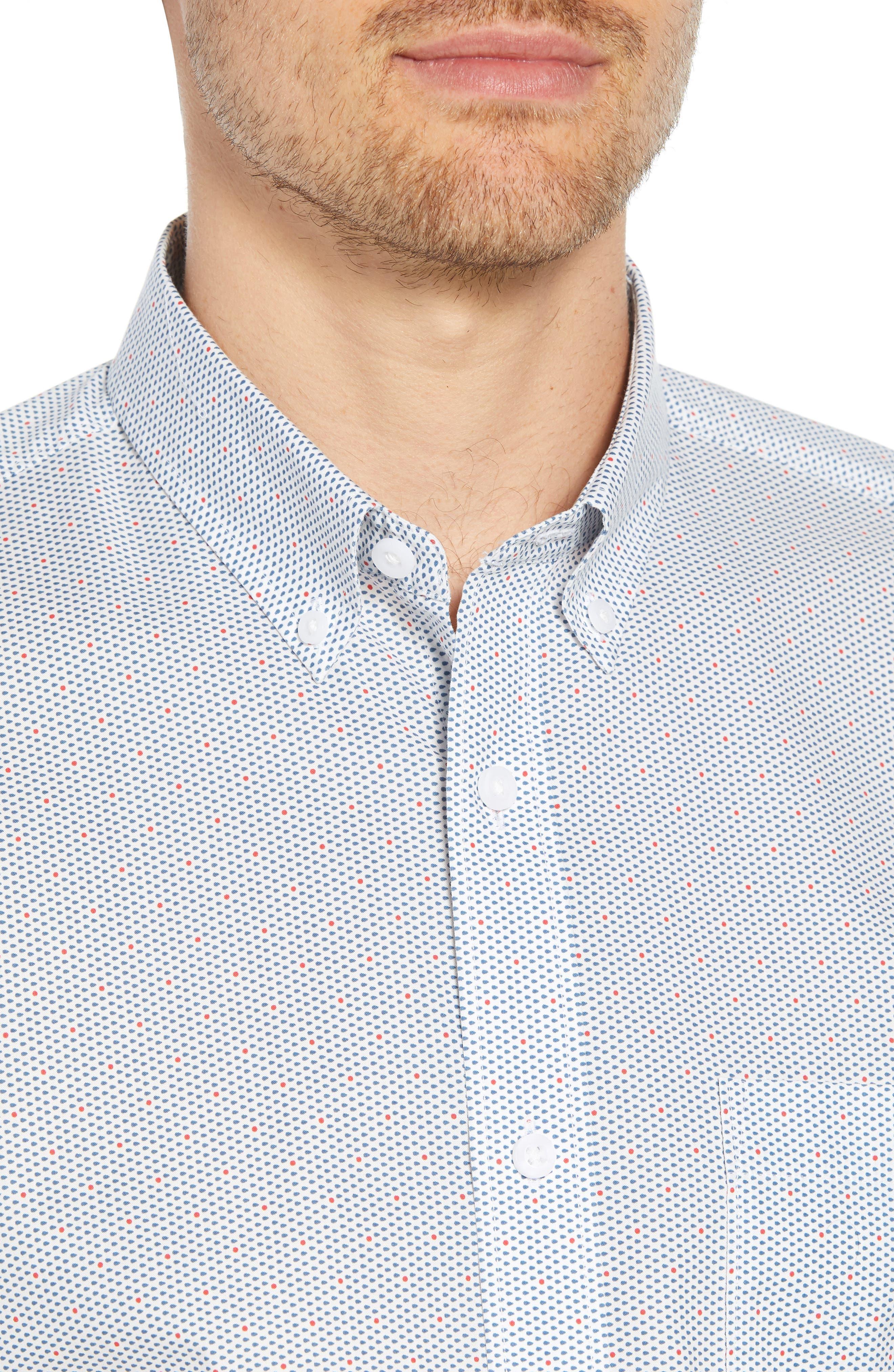 Trim Fit Multi Dot Sport Shirt,                             Alternate thumbnail 4, color,                             100