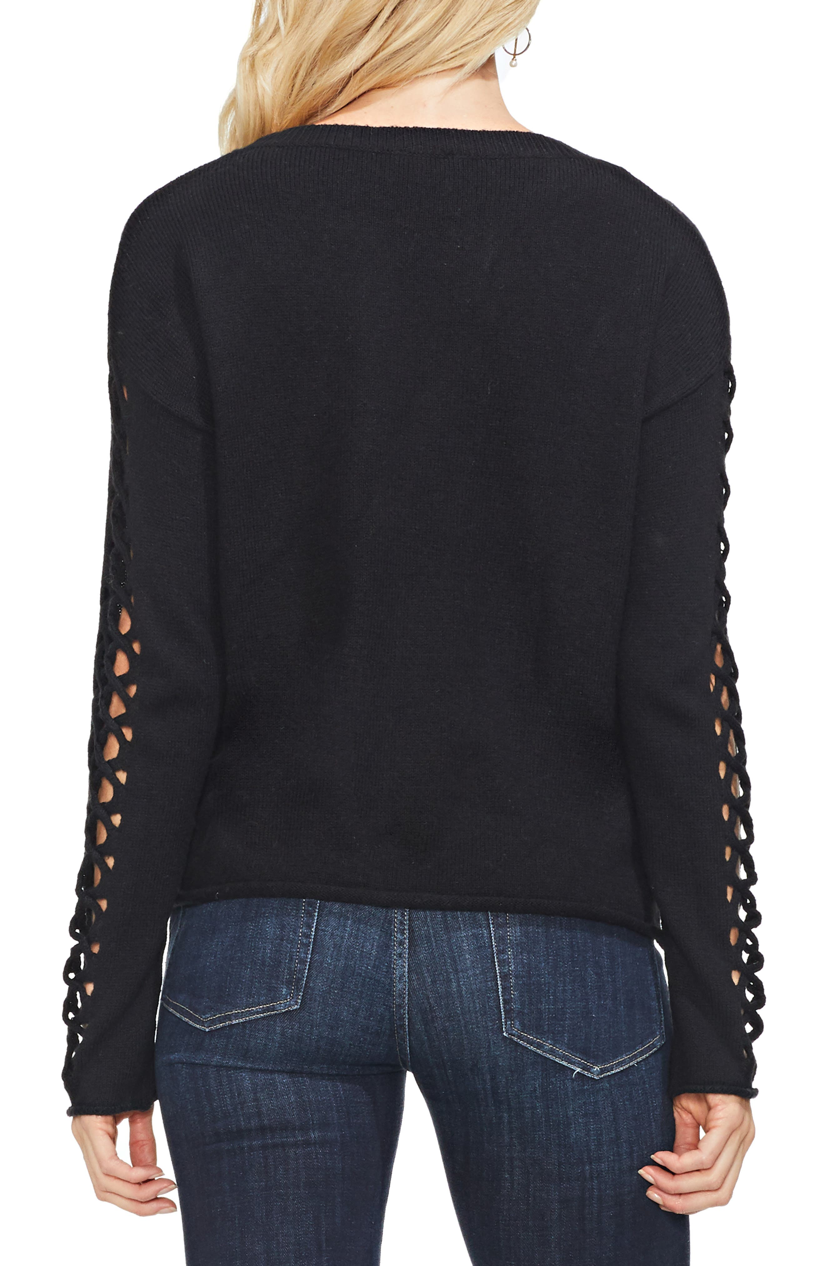 VINCE CAMUTO,                             Lattice Sleeve Cotton Blend Sweater,                             Alternate thumbnail 2, color,                             006