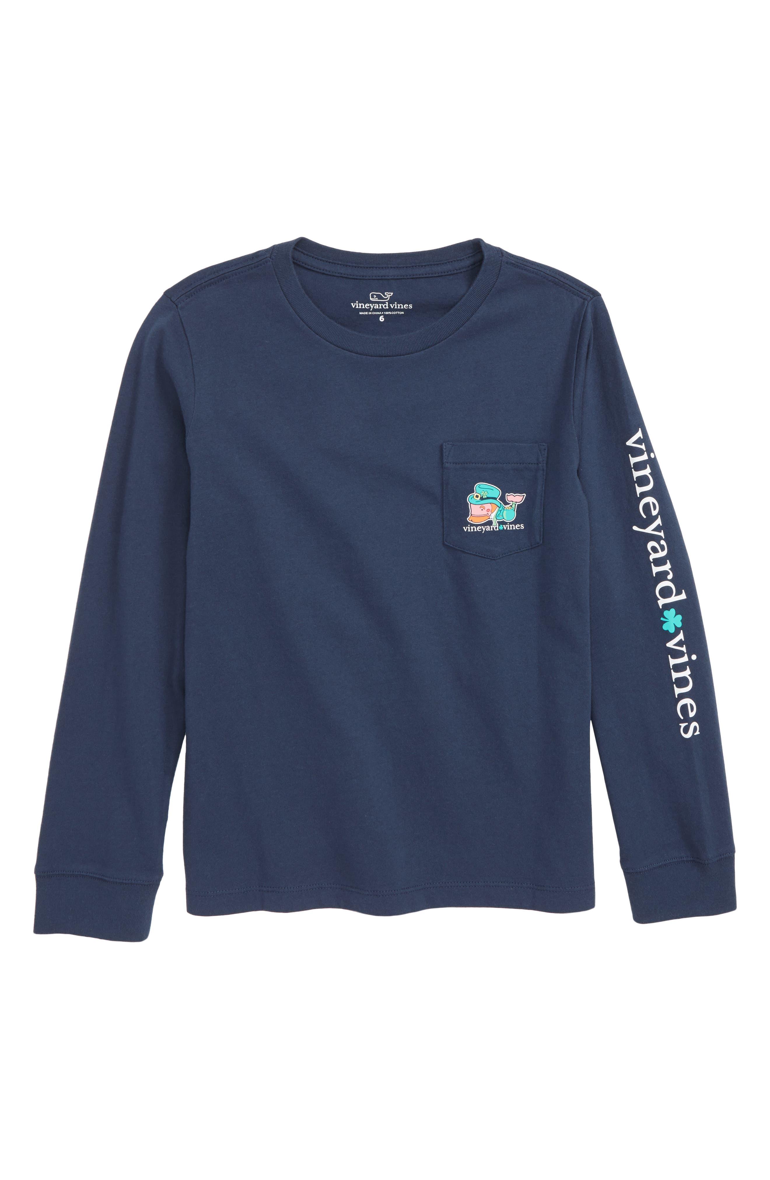 Kiss Me I'm Irish Pocket T-Shirt,                             Main thumbnail 1, color,                             BLUE BLAZER