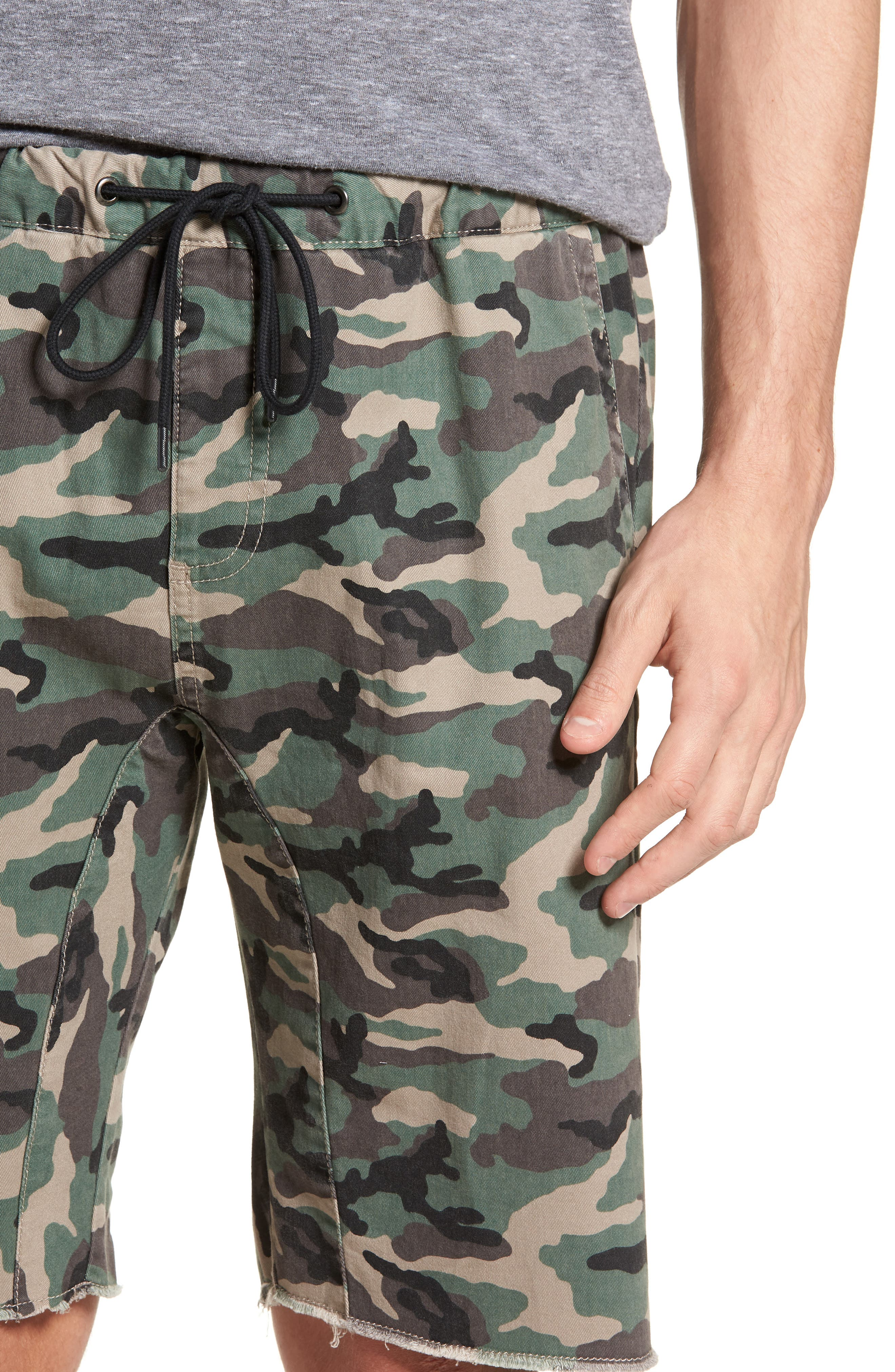 Camo Print Cutoff Twill Shorts,                             Alternate thumbnail 4, color,                             210