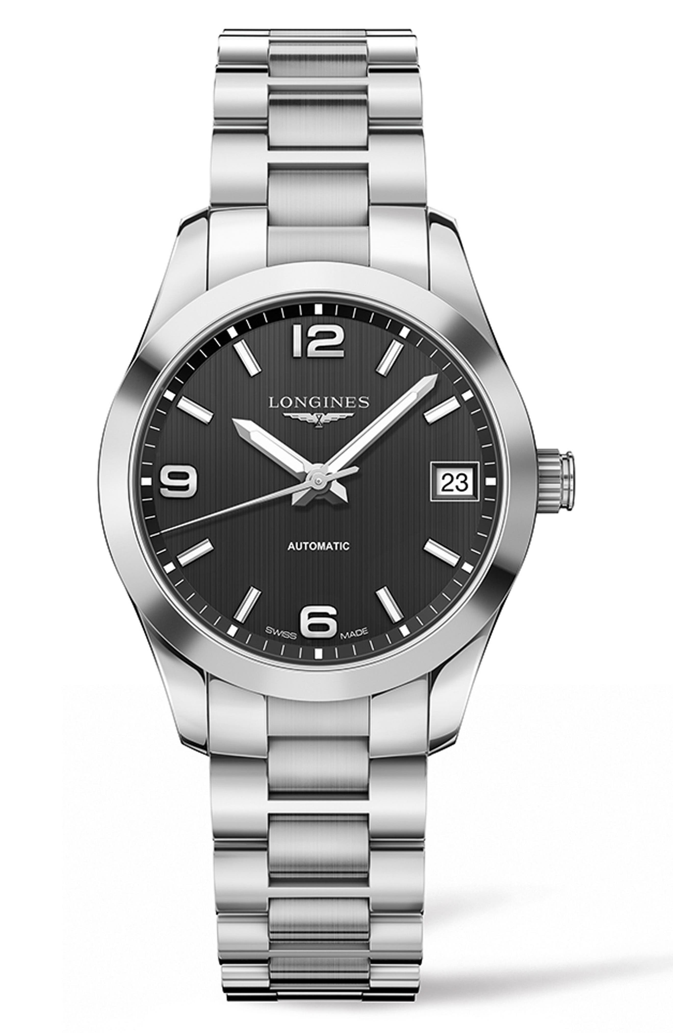 Conquest Classic Automatic Bracelet Watch, 34mm,                         Main,                         color, SILVER/ BLACK/ SILVER
