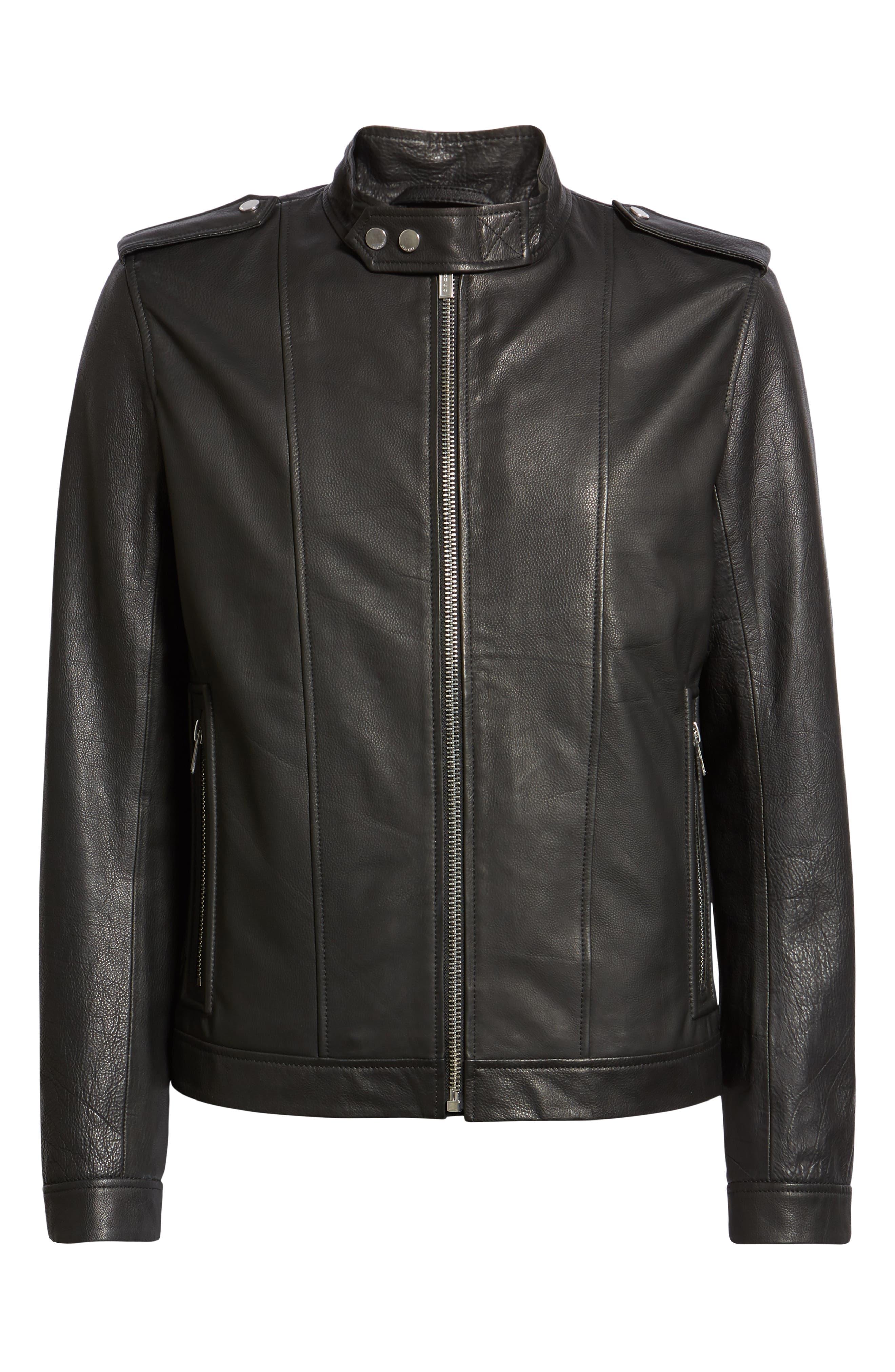 Lector Slim Leather Jacket,                             Alternate thumbnail 5, color,                             BLACK