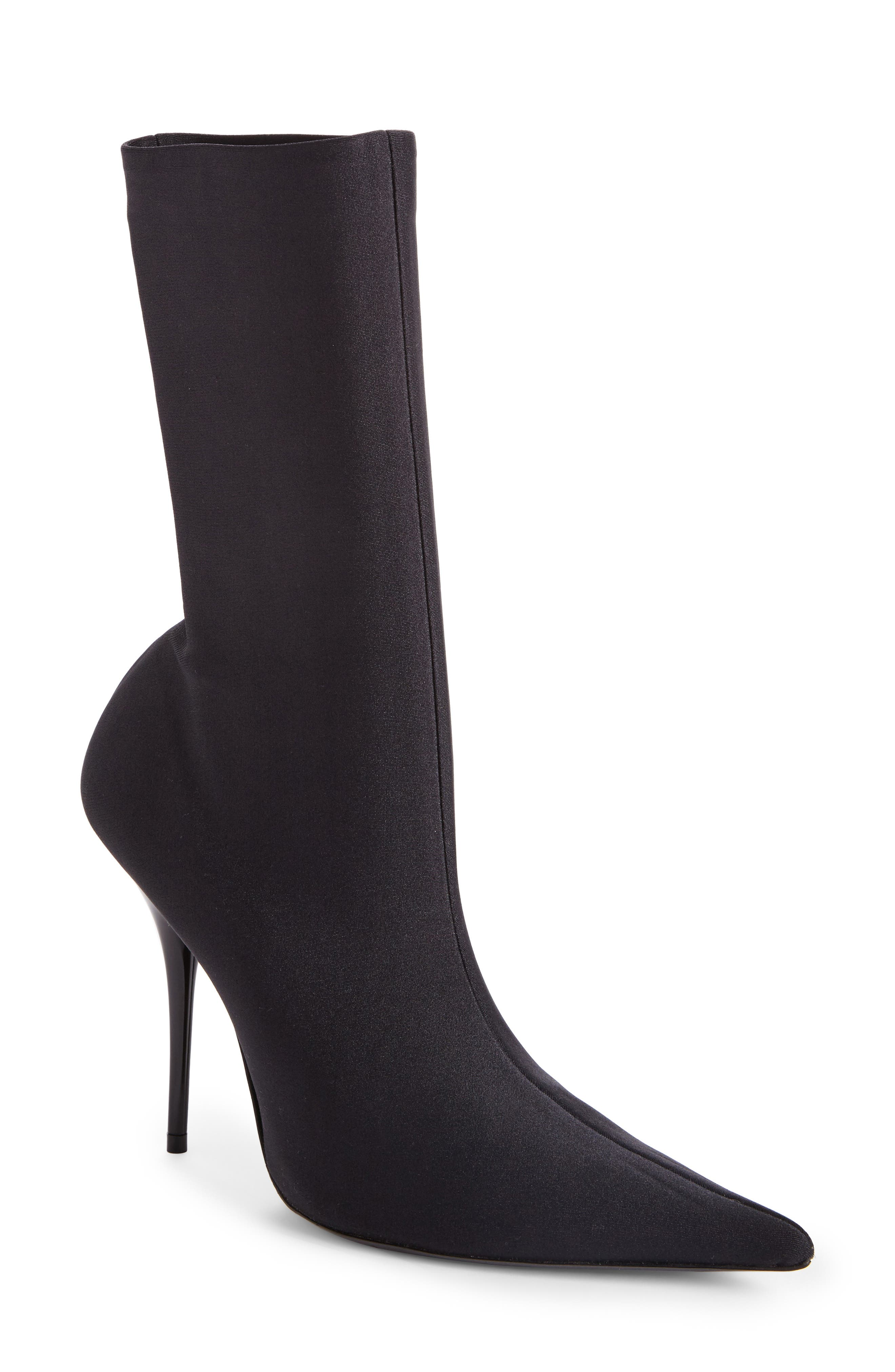 Pointy Toe Mid Bootie,                             Main thumbnail 1, color,                             BLACK