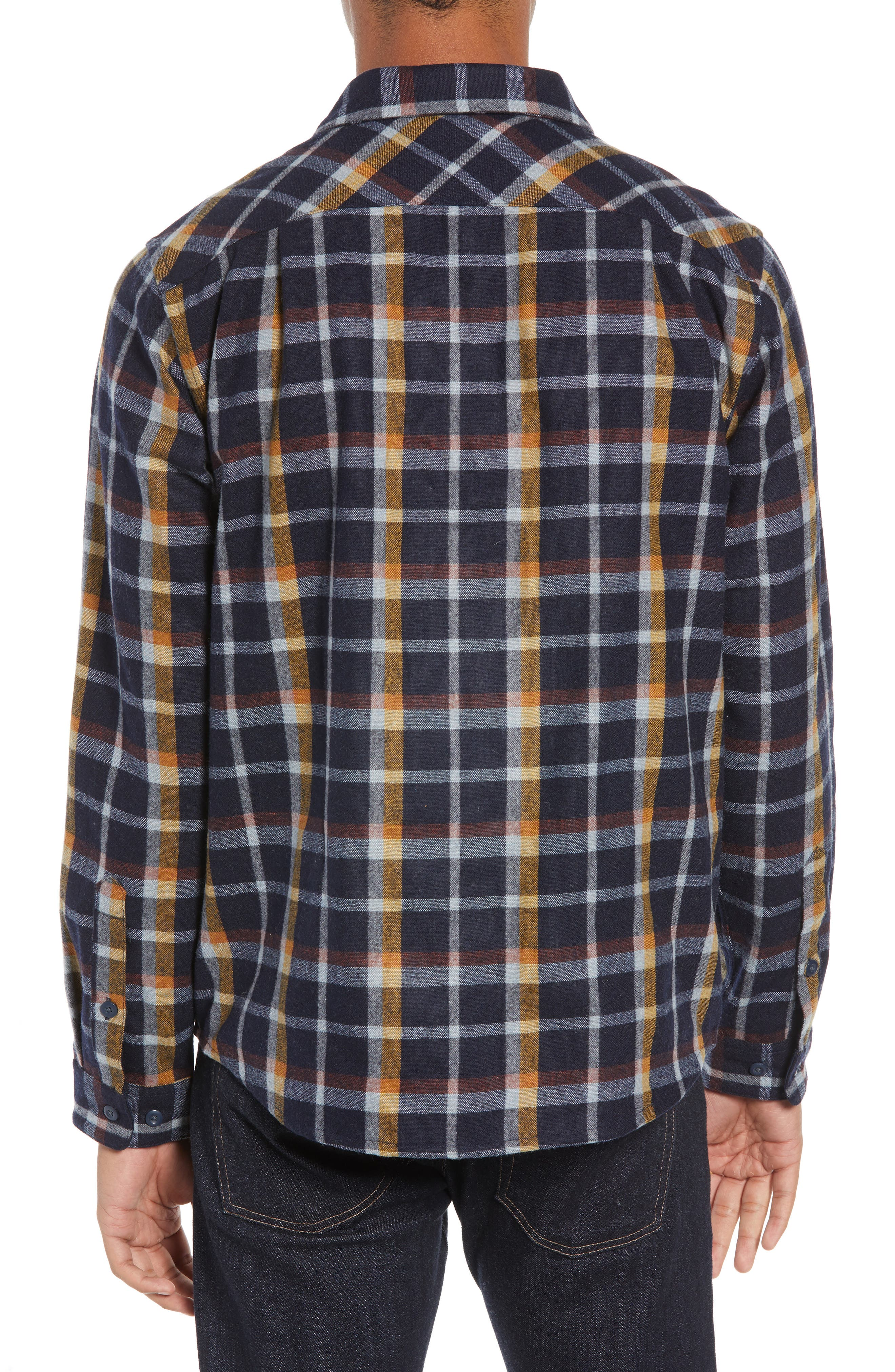 Recycled Wool Blend Shirt,                             Alternate thumbnail 3, color,                             REBEL PLAID/ NAVY BLUE