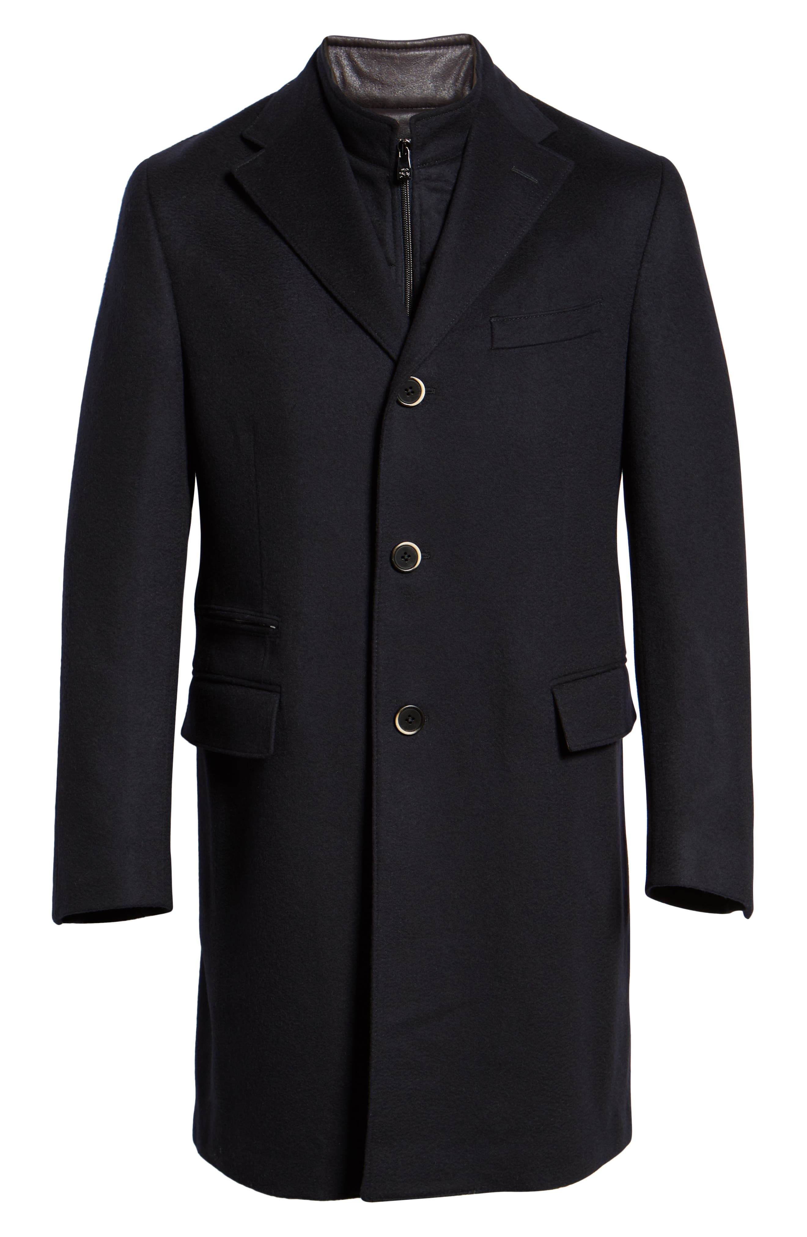 Solid Wool Topcoat,                             Alternate thumbnail 5, color,                             NAVY