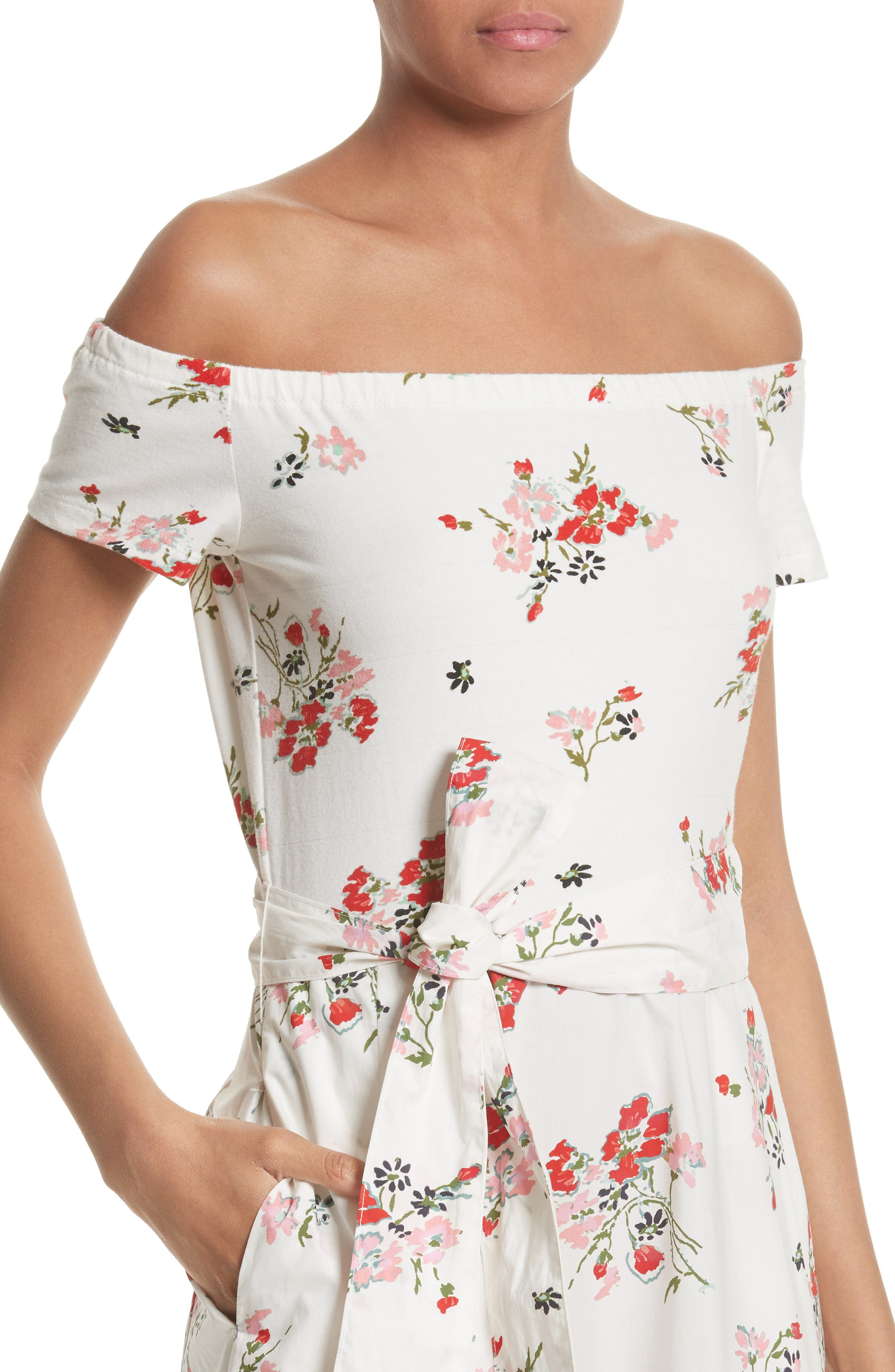 Marguerite Floral Off the Shoulder Midi Dress,                             Alternate thumbnail 4, color,