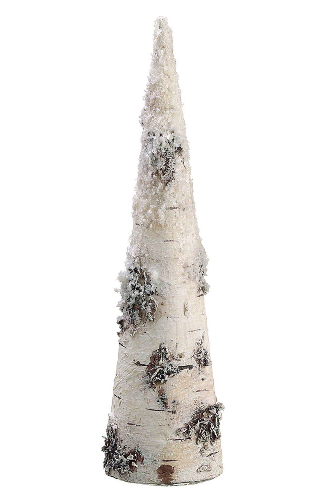 Snowy Faux Birch Cone Decoration,                             Alternate thumbnail 2, color,                             280