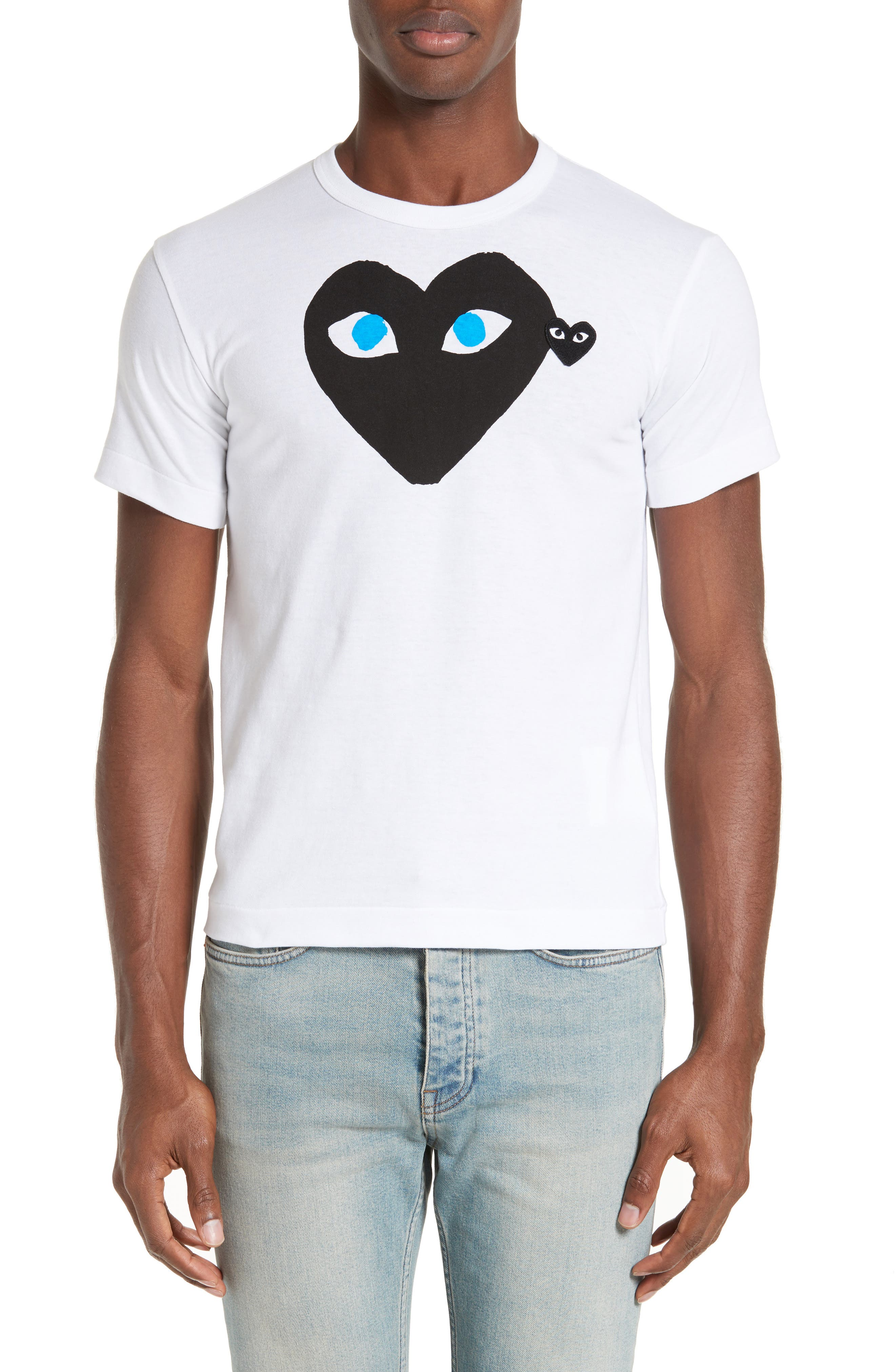 Graphic T-Shirt with Heart Appliqué,                         Main,                         color, 100