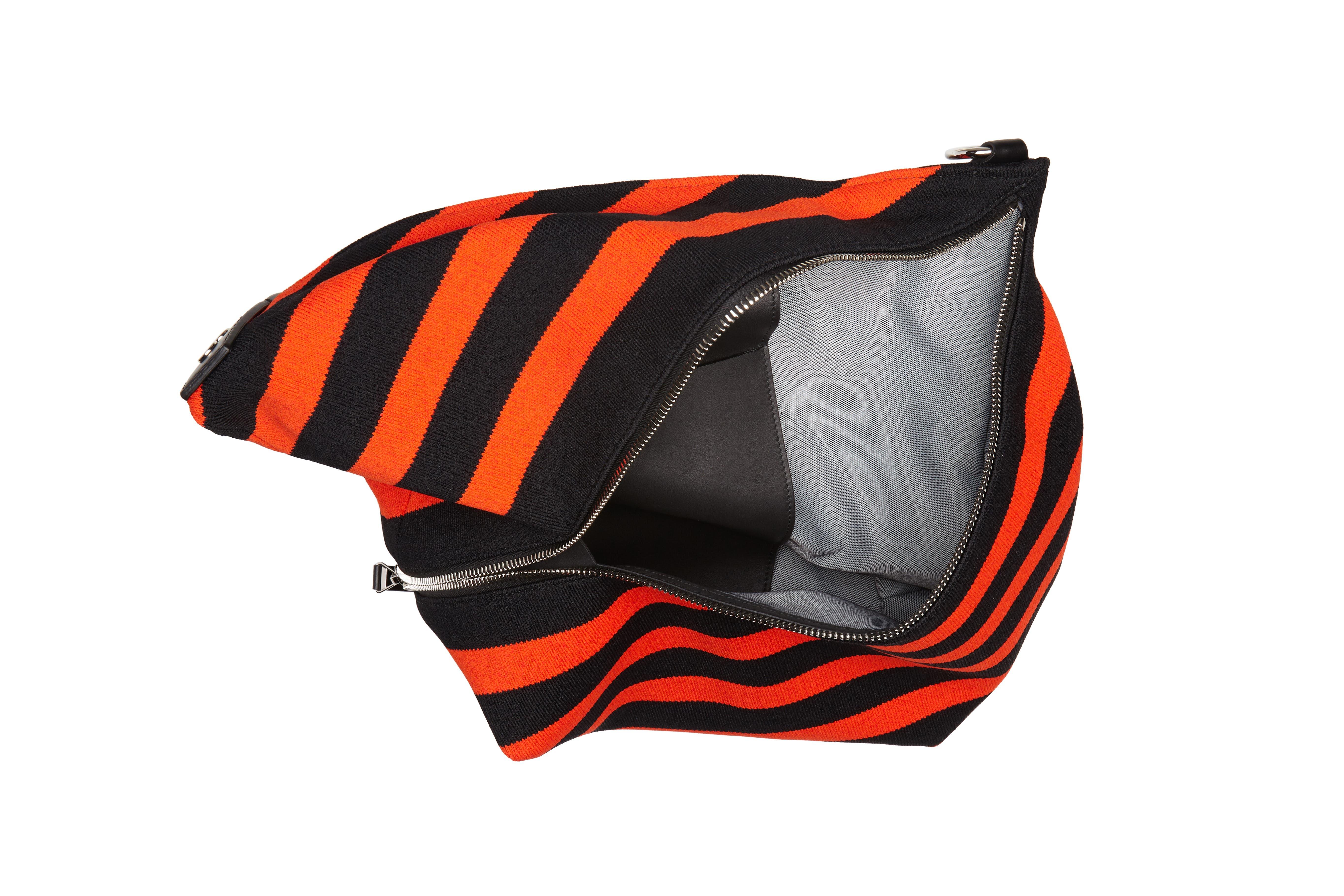 Medium Asymmetric Zip Stripe Textile Hobo,                             Alternate thumbnail 4, color,                             BLACK/ HOT CORAL