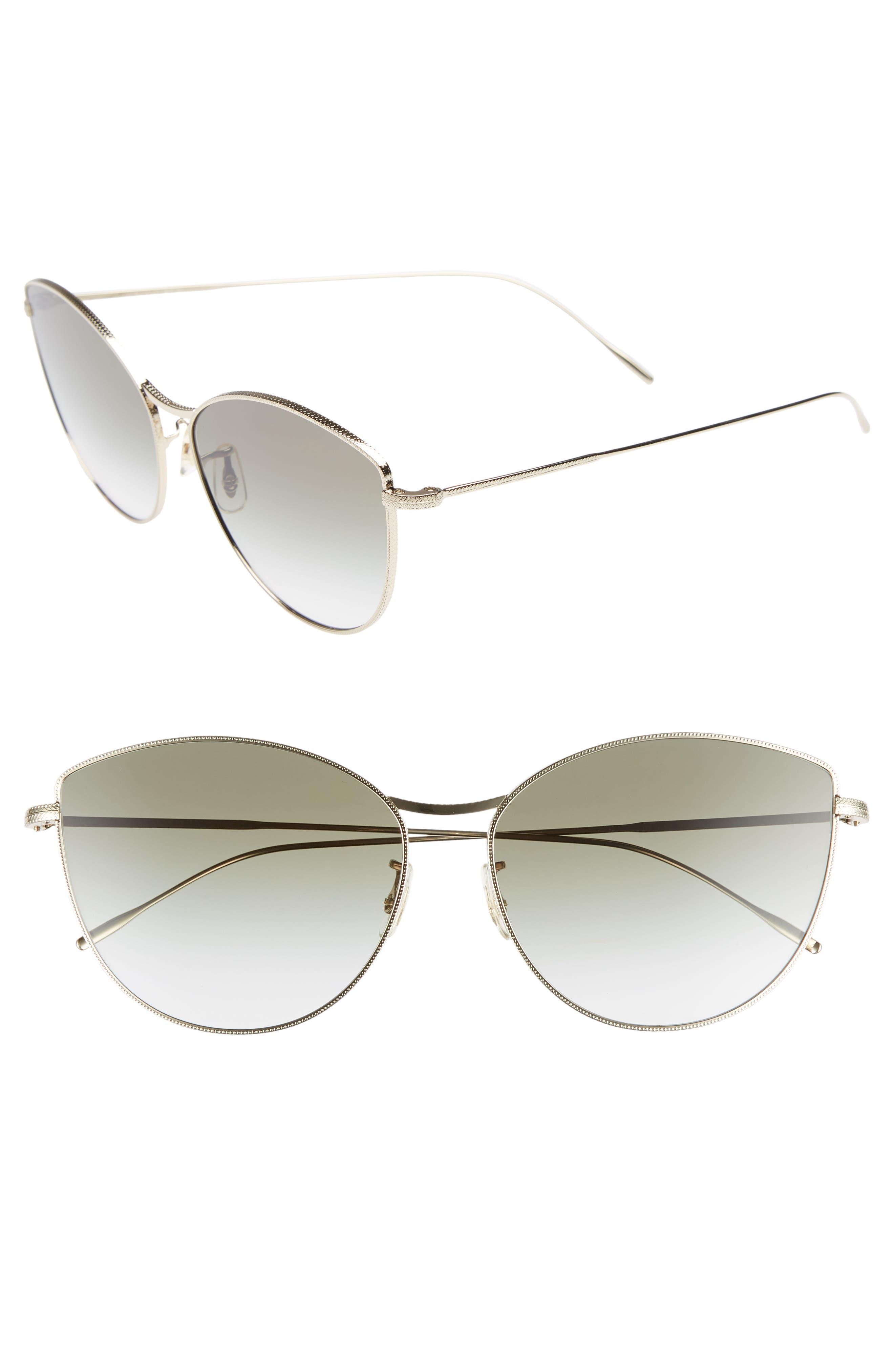 Rayette 60mm Cat Eye Sunglasses,                         Main,                         color, SOFT GOLD OLIVE