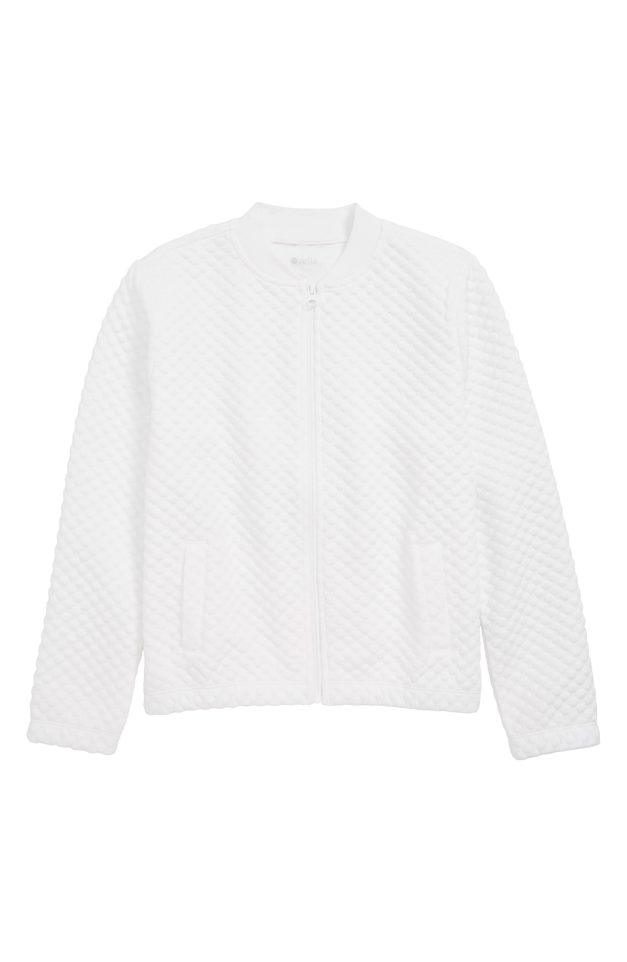 ZELLA GIRL Quilted Bomber Jacket, Main, color, WHITE
