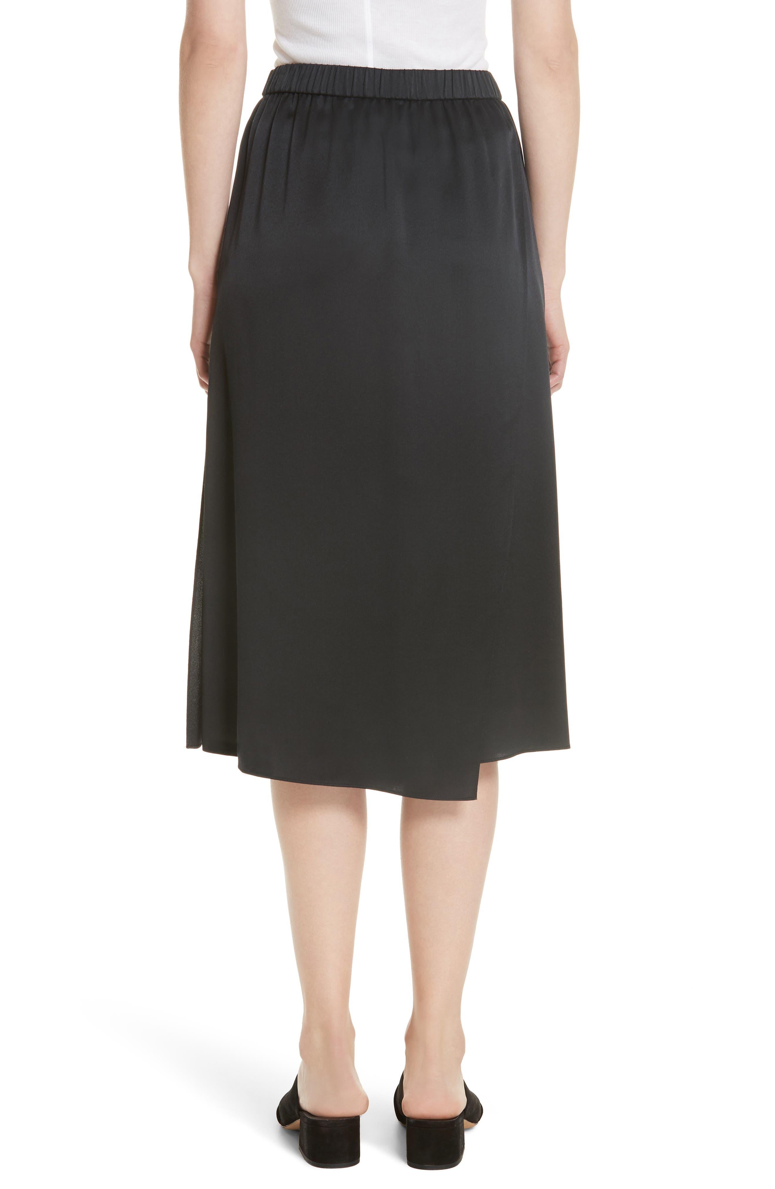 Drape Panel Silk Skirt,                             Alternate thumbnail 2, color,                             BLACK