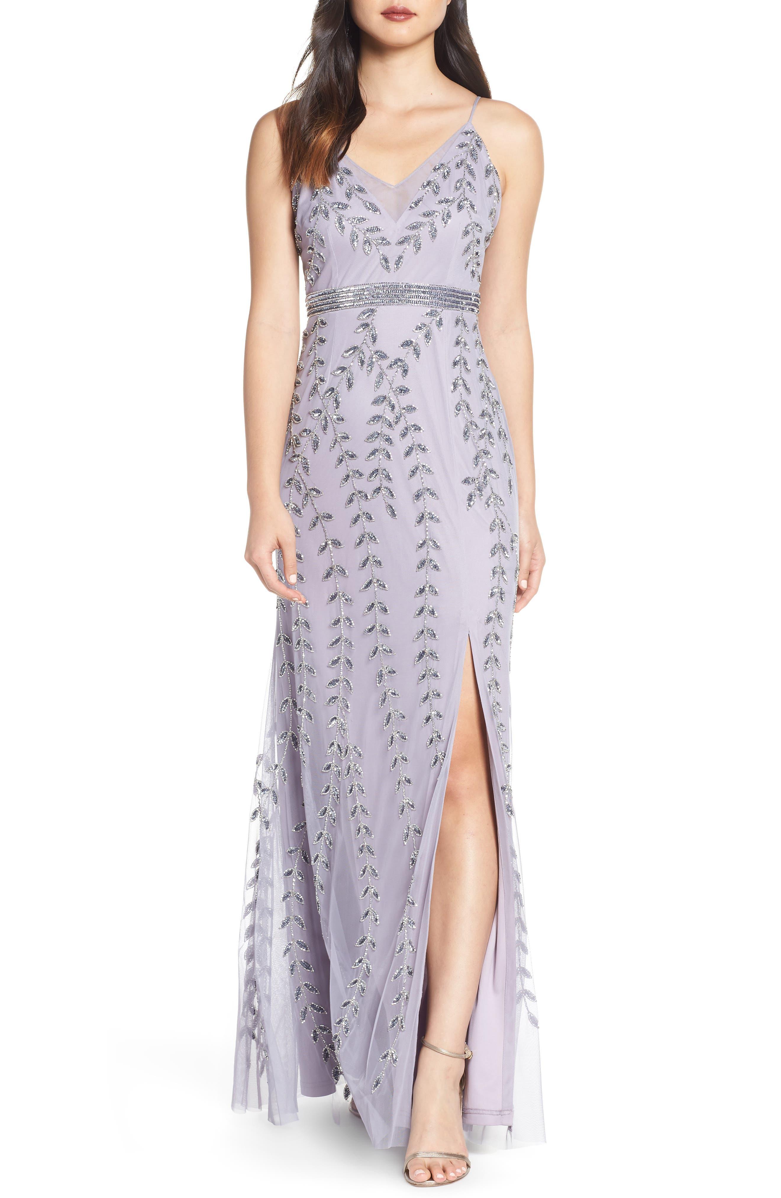 Adrianna Papell Vine Motif Beaded Evening Dress, Purple