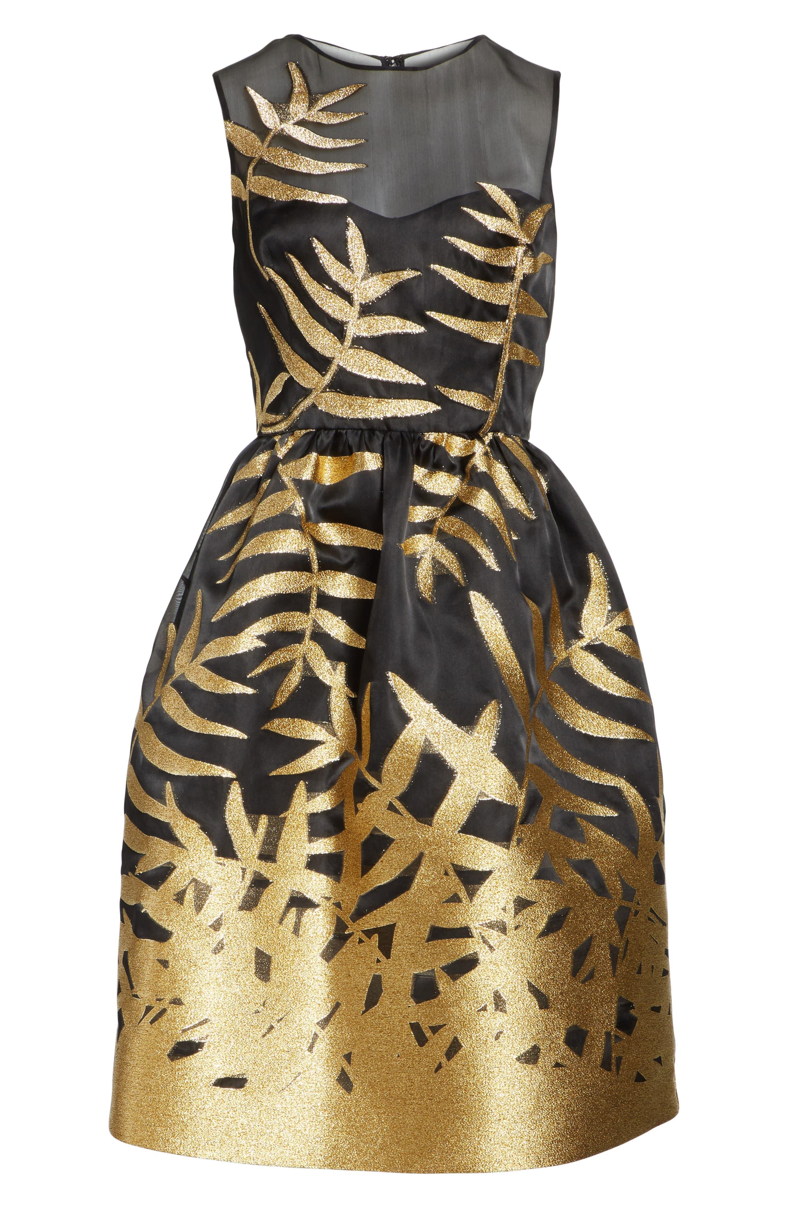 Glitter Fil Coupé Dress,                             Alternate thumbnail 6, color,                             001