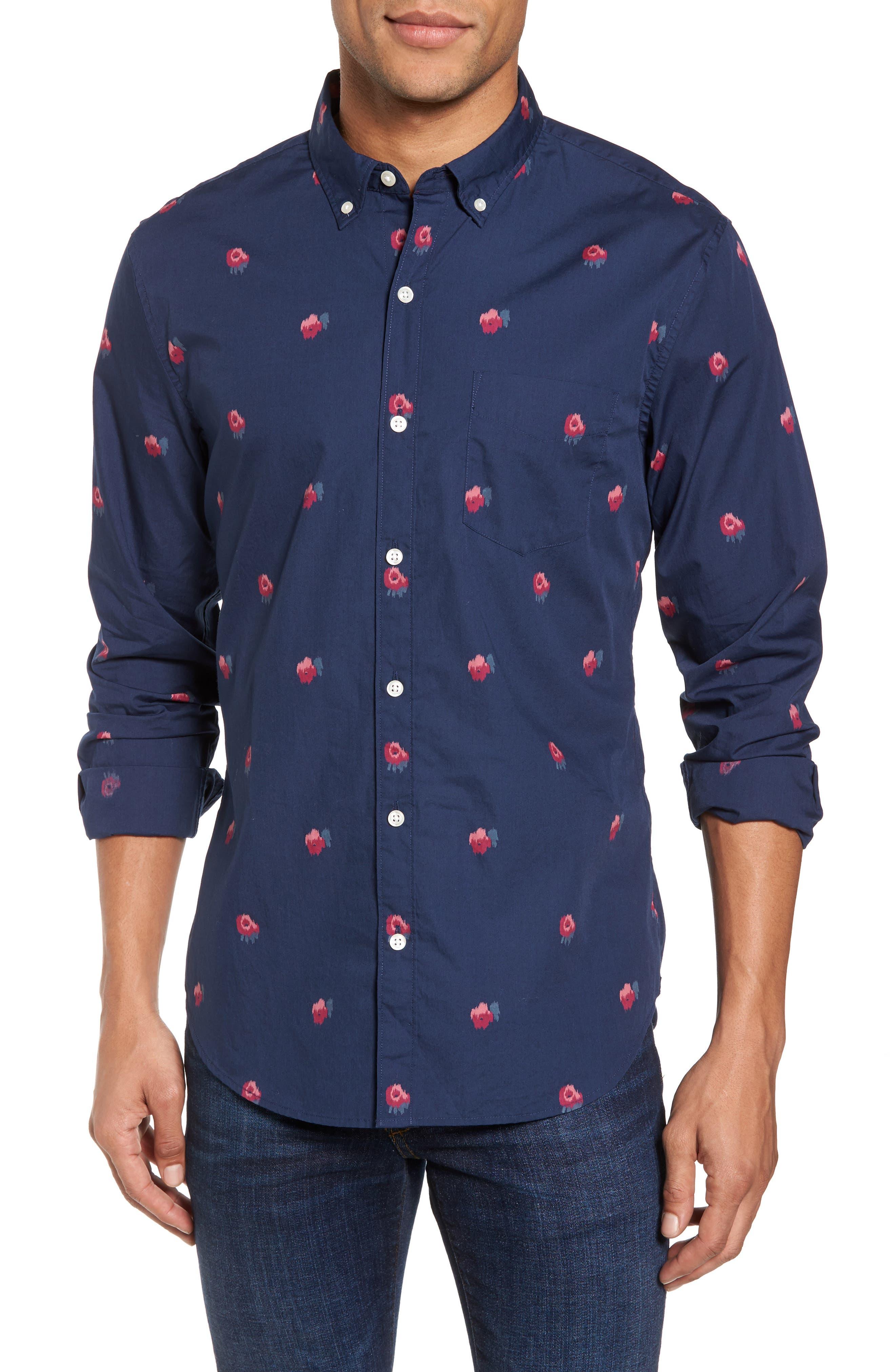 Slim Fit Washed Rose Print Sport Shirt,                         Main,                         color, 400