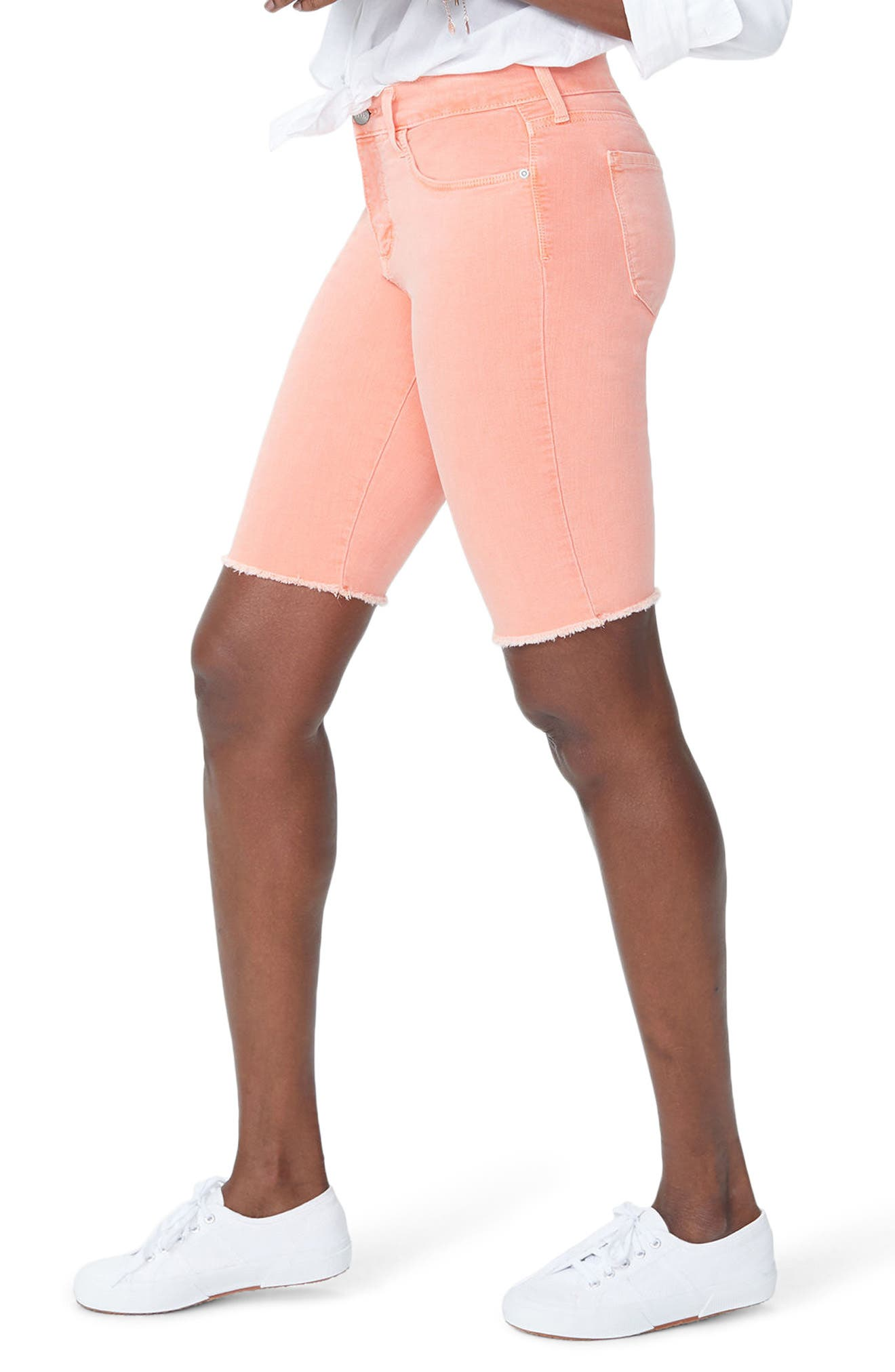 Briella Frayed Hem Bermuda Shorts,                             Alternate thumbnail 14, color,