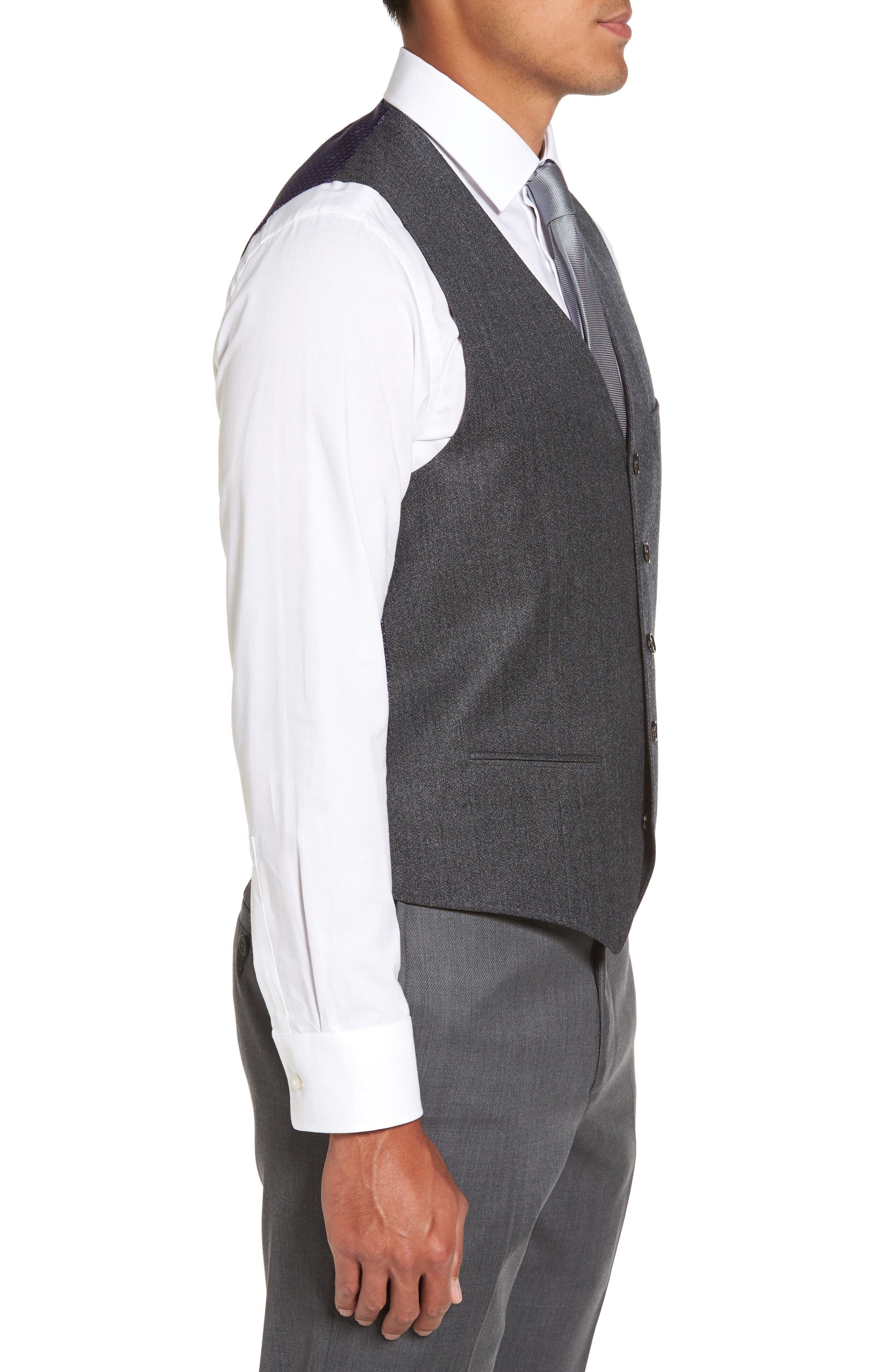 Troy Trim Fit Solid Wool Vest,                             Alternate thumbnail 3, color,                             050