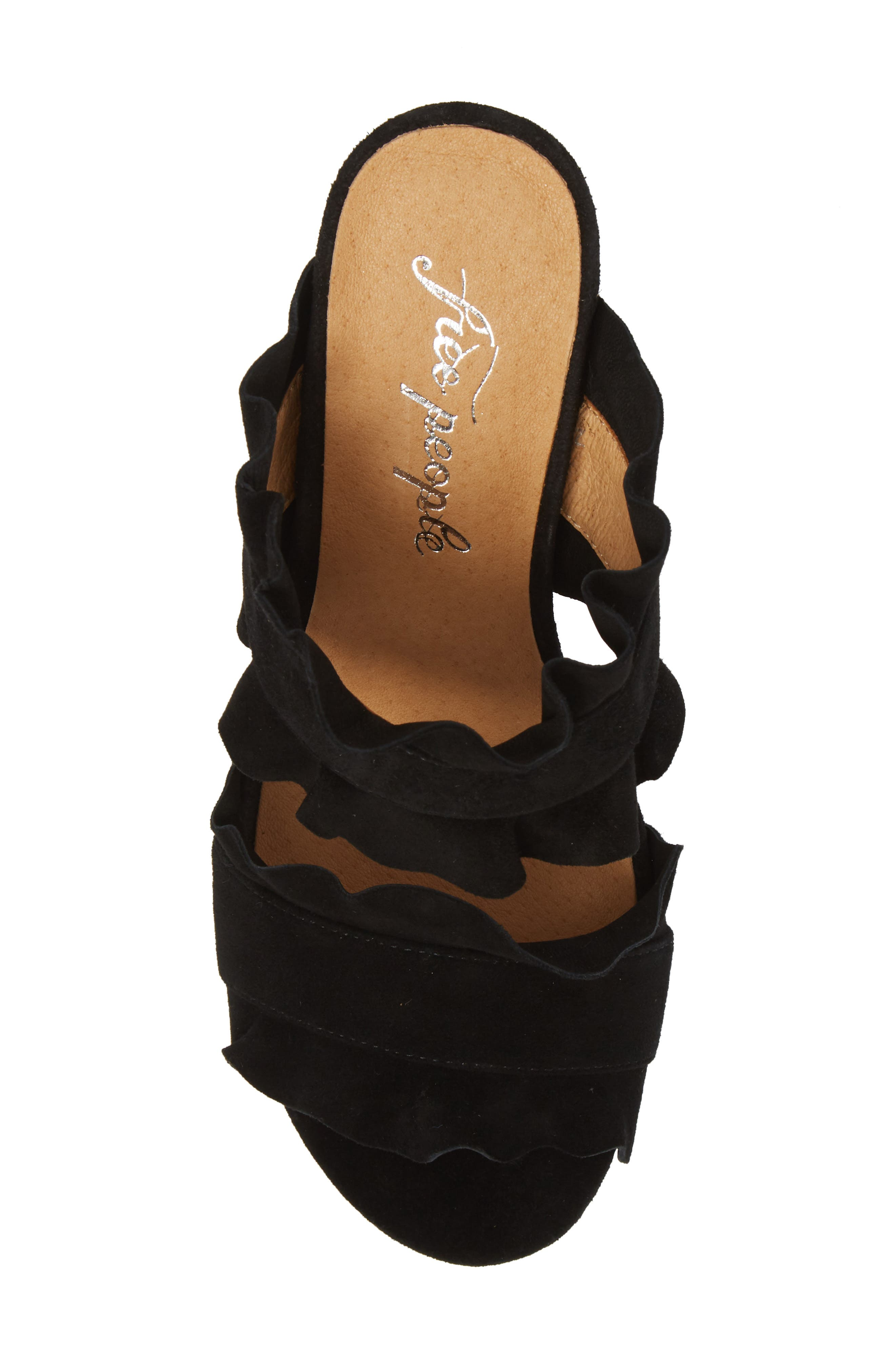 Rosie Ruffle Slide Sandal,                             Alternate thumbnail 5, color,                             BLACK