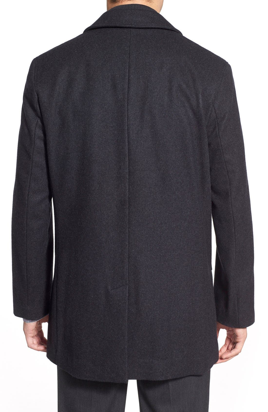 Wool Blend Topcoat with Inset Knit Bib,                             Alternate thumbnail 4, color,