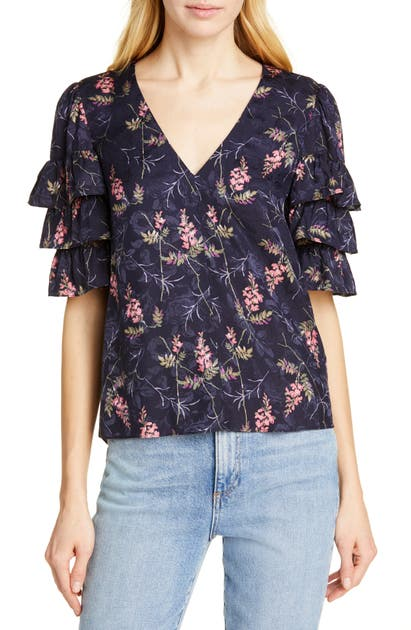 Rebecca Taylor Tops TIERED RUFFLE SLEEVE SILK BLEND BLOUSE