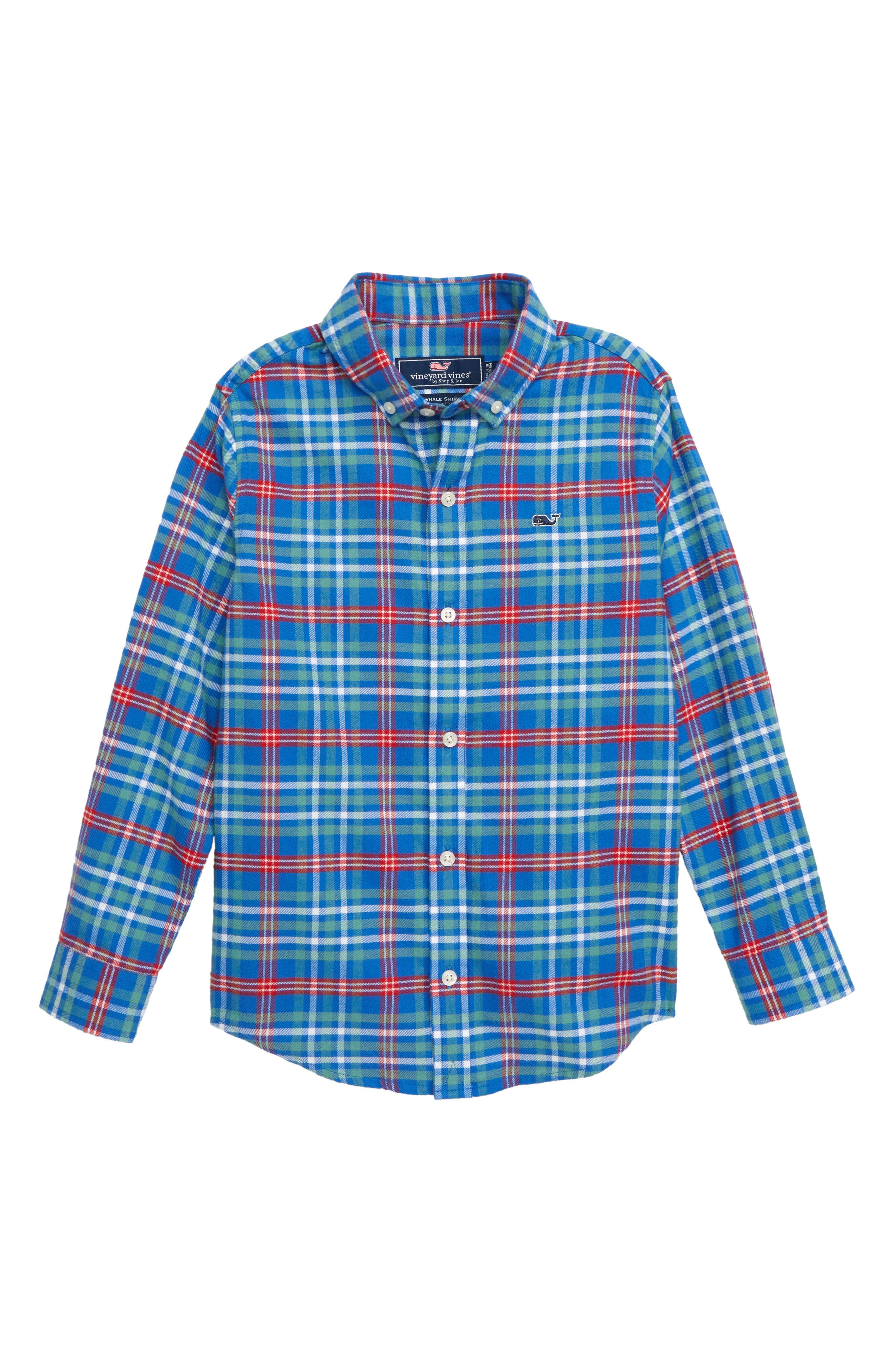 Mill River Flannel Whale Shirt, Main, color, YACHT BLUE