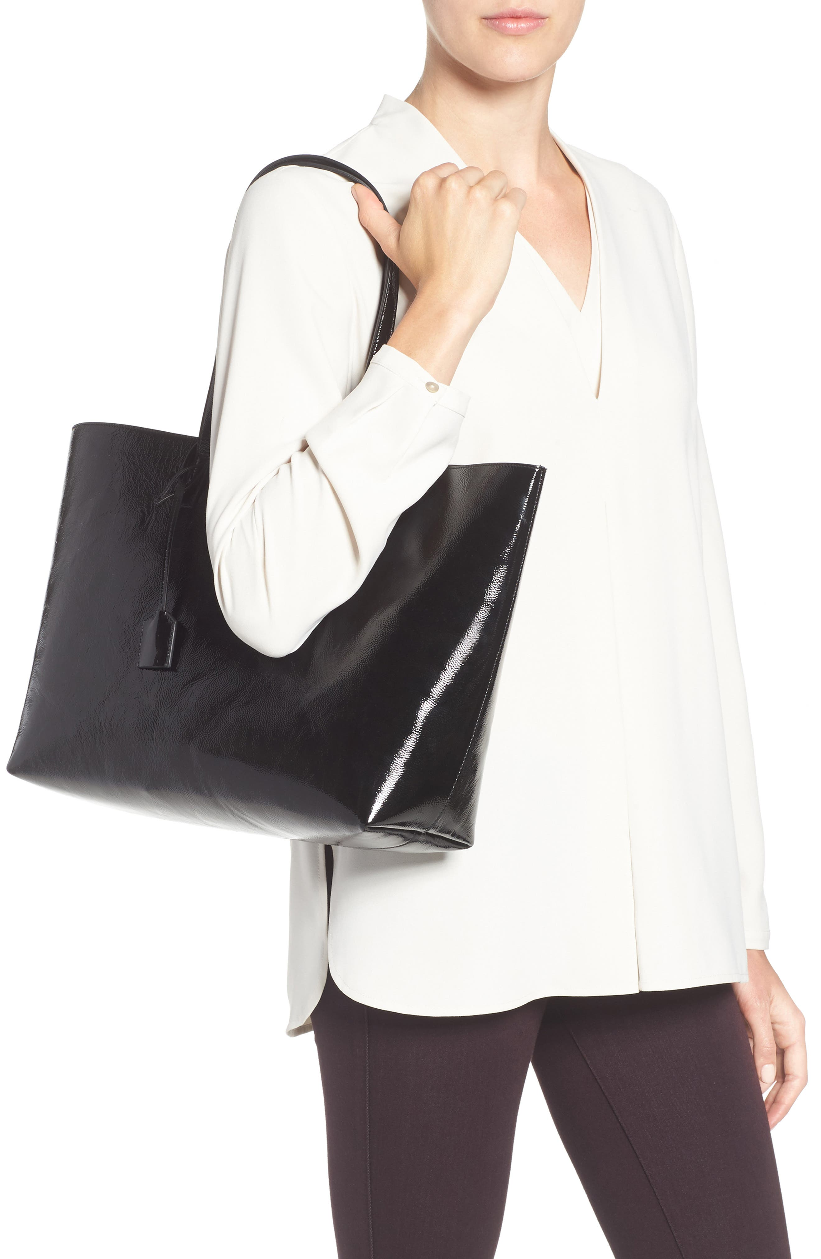 East/West Leather Tote,                             Alternate thumbnail 2, color,                             001