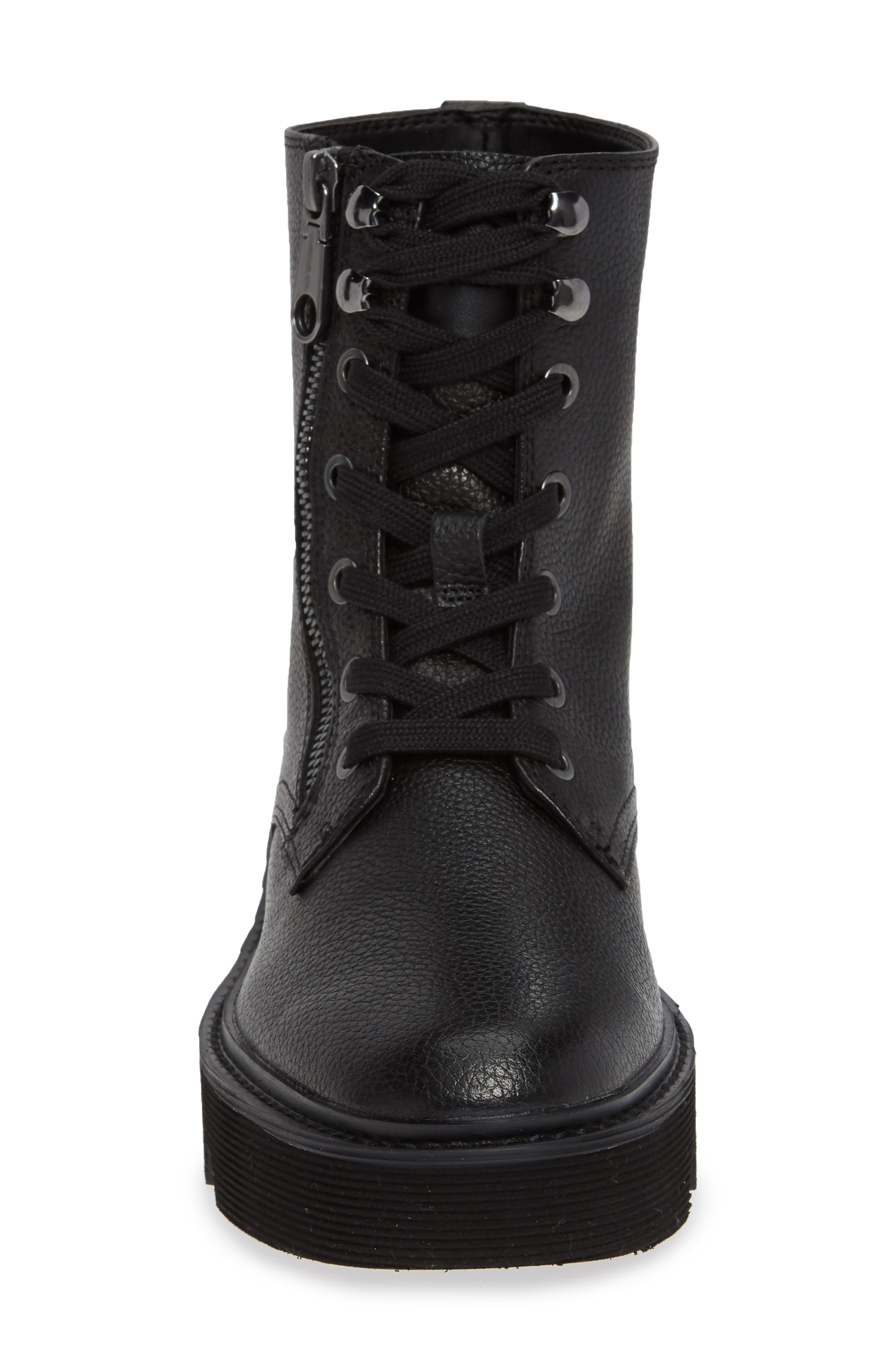 Diahne Combat Boot,                             Alternate thumbnail 4, color,                             BLACK LEATHER
