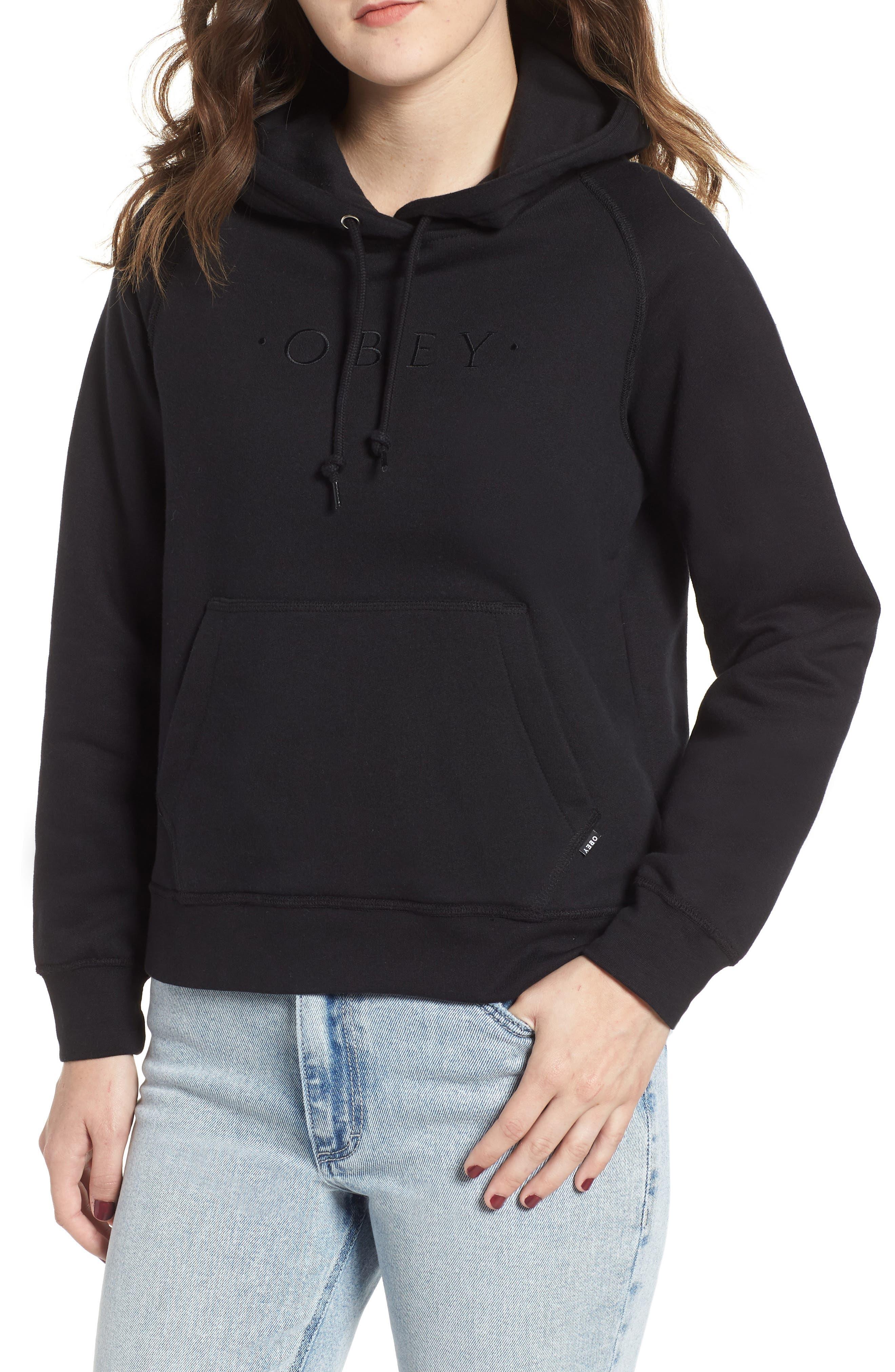 Annie Logo Cotton Blend Hoodie,                         Main,                         color, BLACK