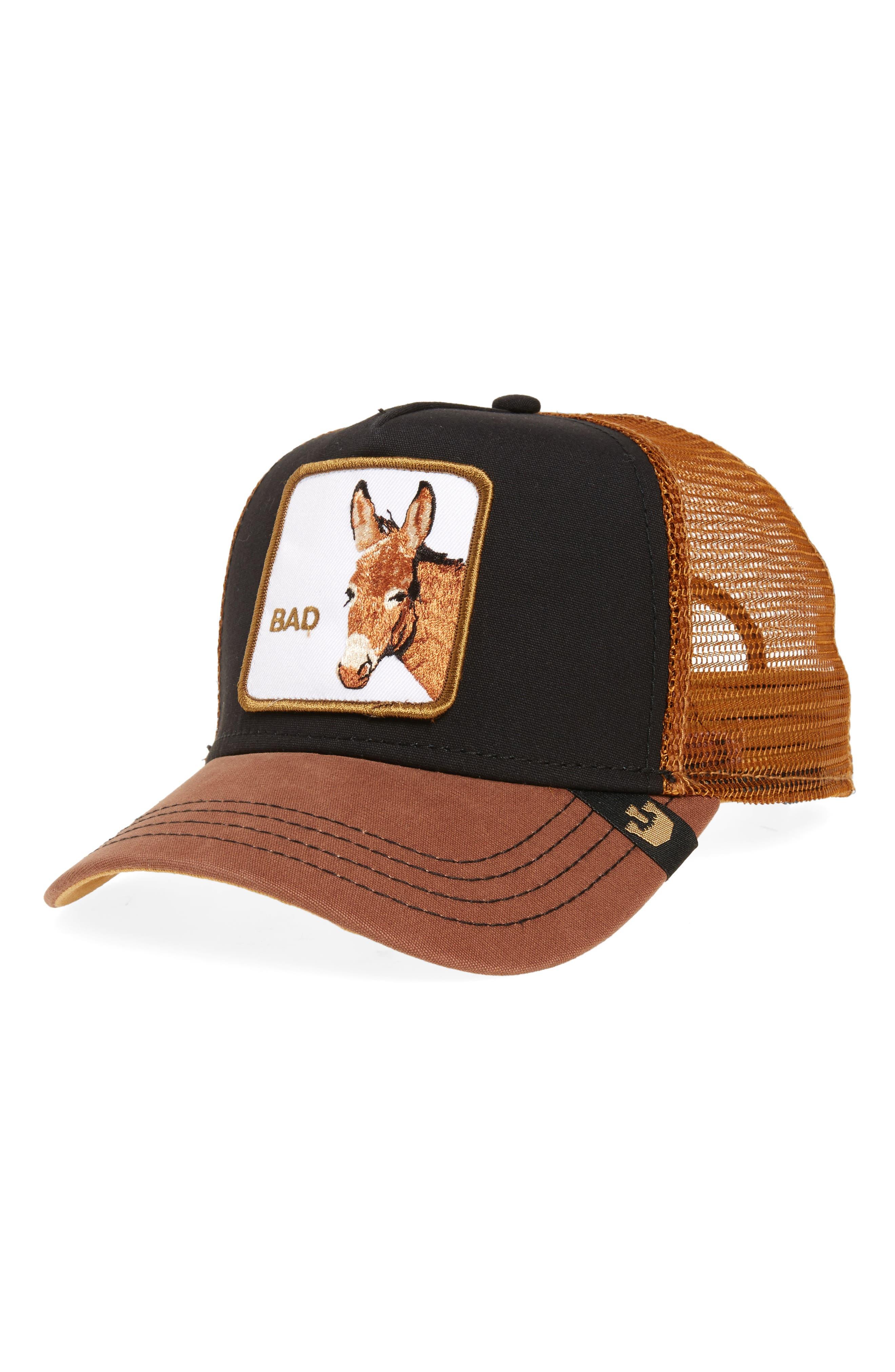 Barnyard Donkey Trucker Hat,                             Main thumbnail 1, color,                             BLACK