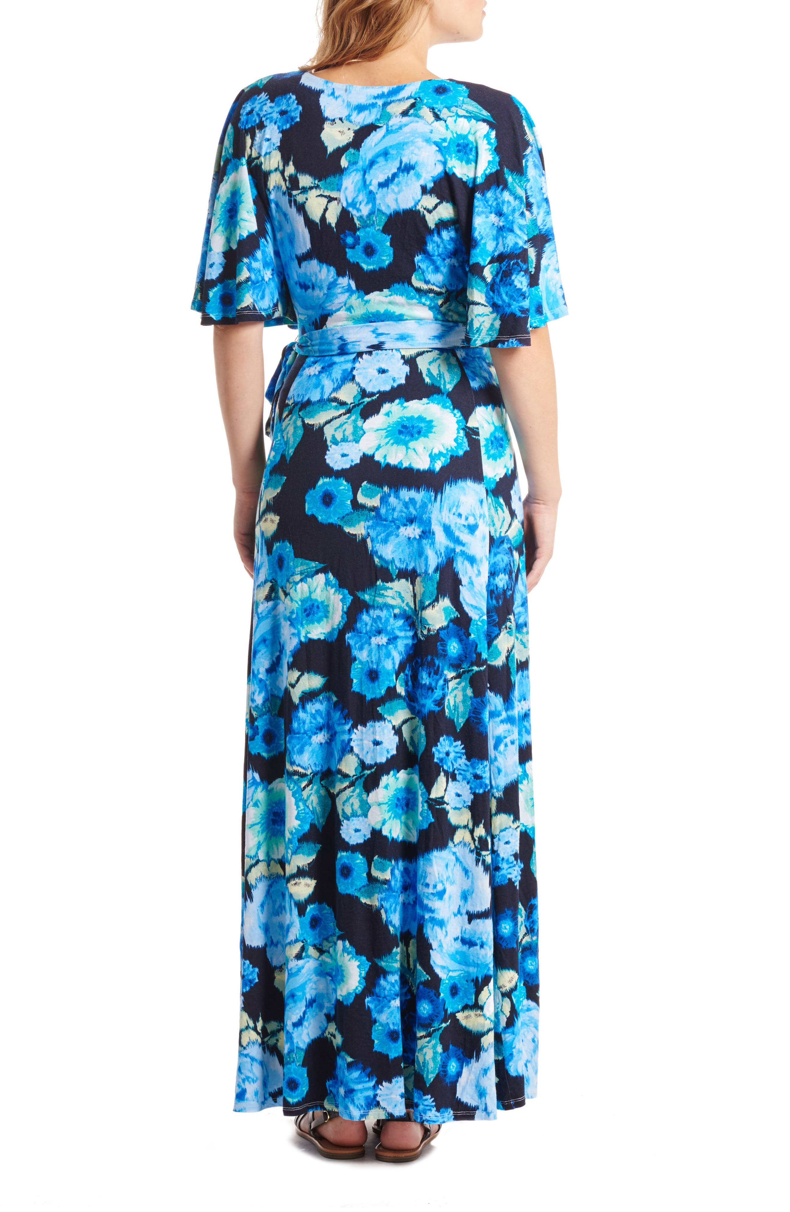 Asa Maternity/Nursing Maxi Wrap Dress,                             Alternate thumbnail 2, color,                             AQUA ROSE